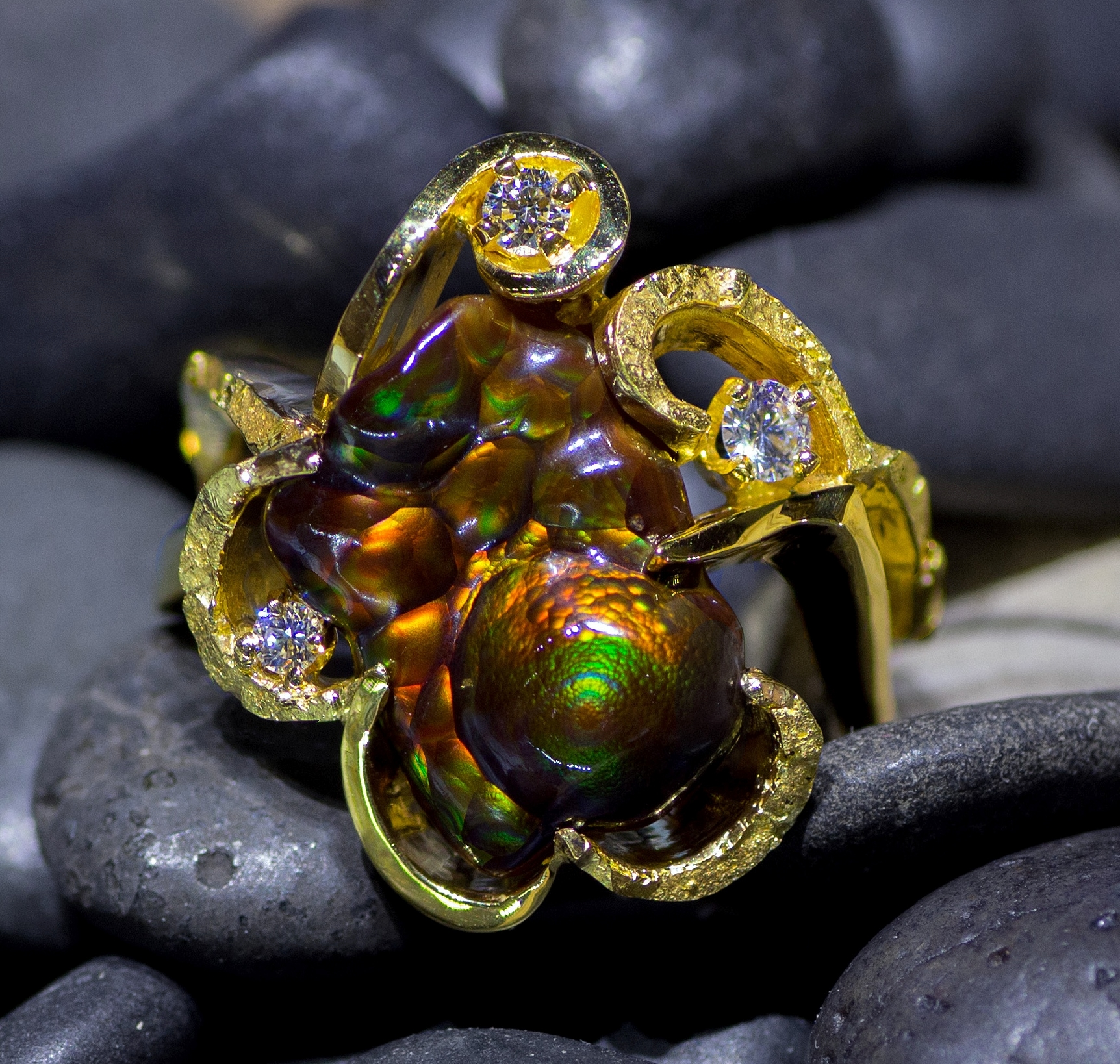Alaskan Gold Nugget and Diamond Fire Agate Ring in 14Kt Yellow Gold.