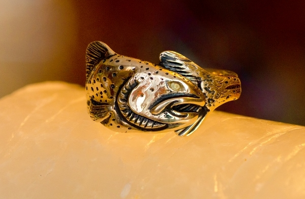 Wild Alaska Salmon Ring with Gold Nugget in 14kt yellow gold