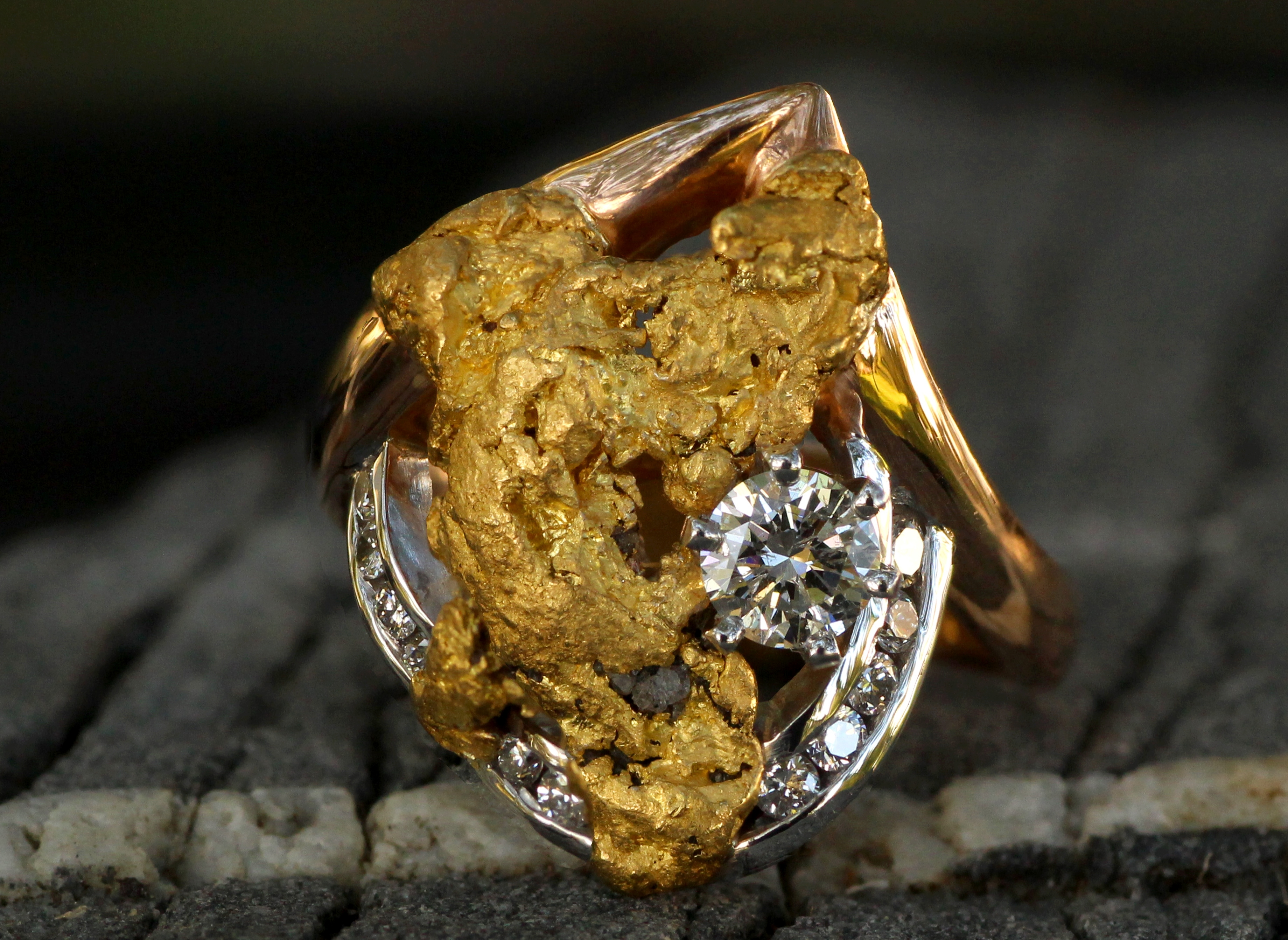 Custom Alaskan Gold Nugget and Diamonds in 14kt White Gold and 18Kt Rose Gold.