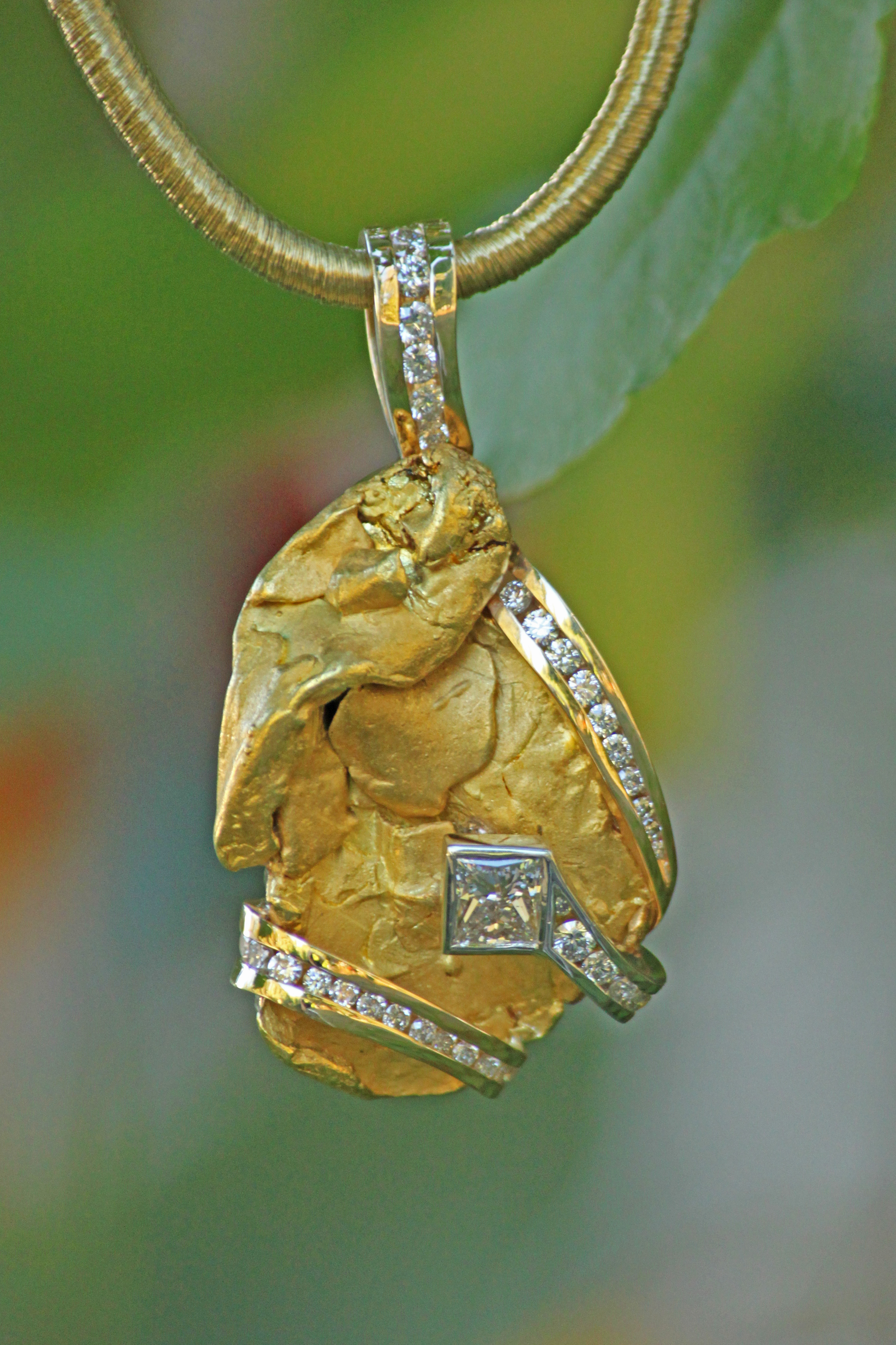 Custom Alaskan Gold Nugget and Diamonds Pendant in 14kt Yellow Gold.