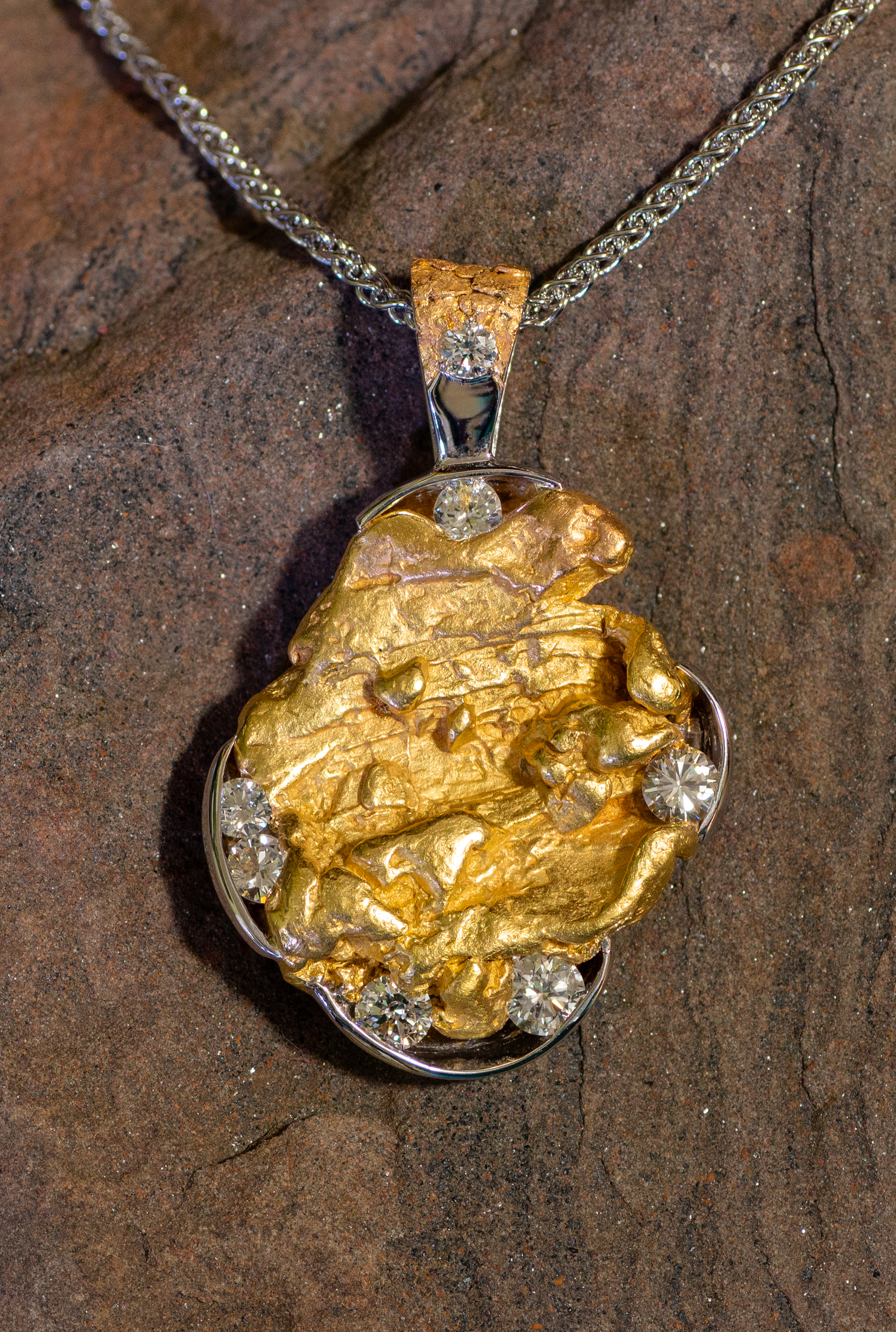 Custom Alaskan Gold Nugget and Diamonds Pendant in 14kt White Gold.