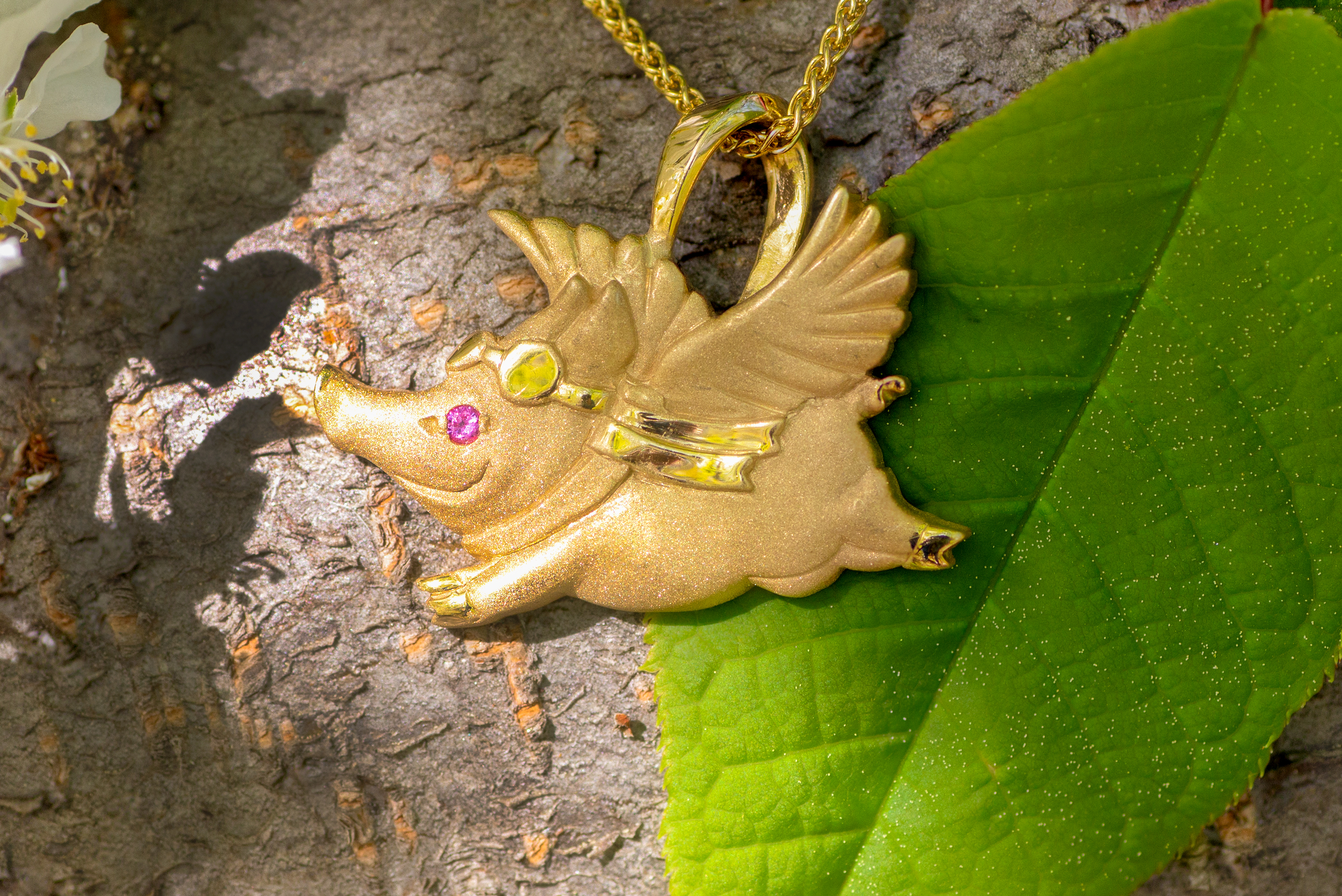 14kt yellow gold Flying Pig Pendant