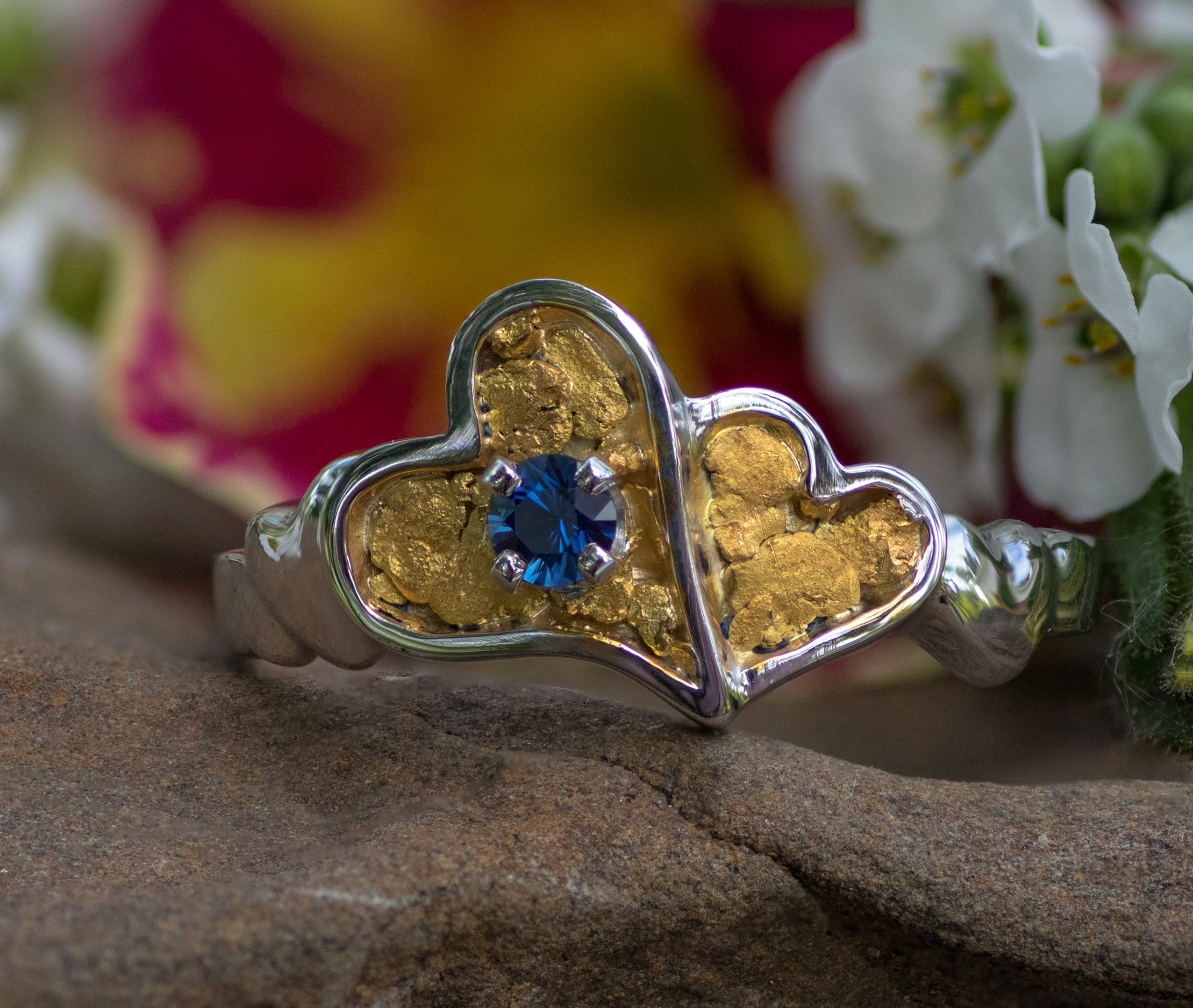 Alaskan Gold Nugget heart Ring and sapphire in 14kt White Gold.
