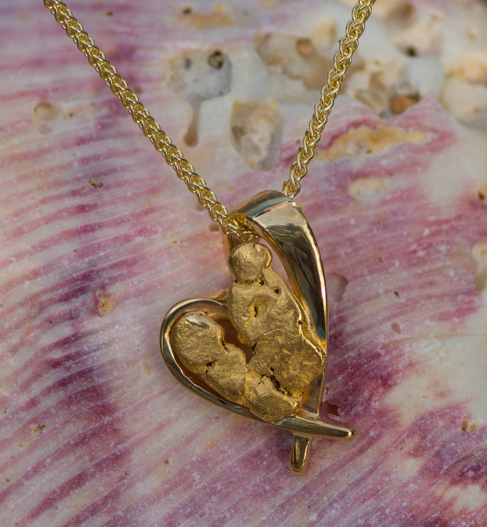 Beautiful Alaskan Gold Nugget in 14kt Yellow Gold Heart Pendant