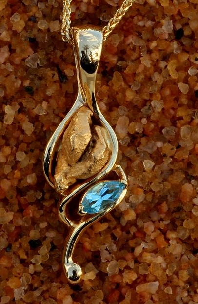 Blue Topaz and Alaskan Gold Nugget Pendant