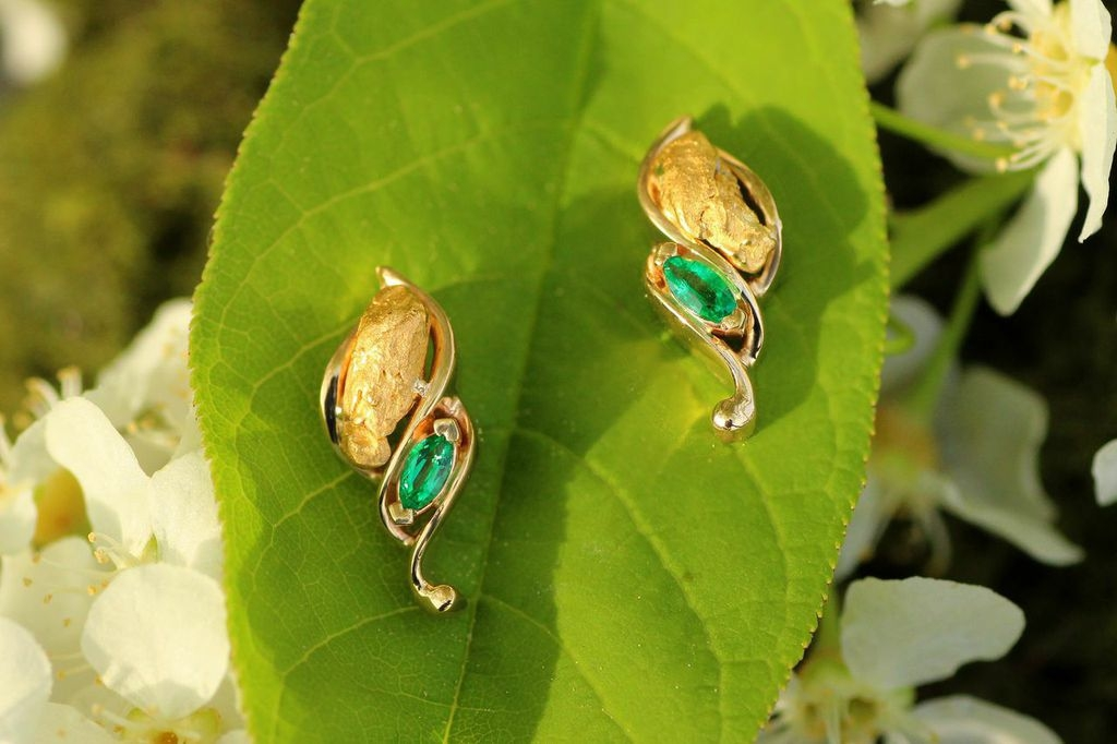 Emerald and Alaskan Gold Nugget Earrings