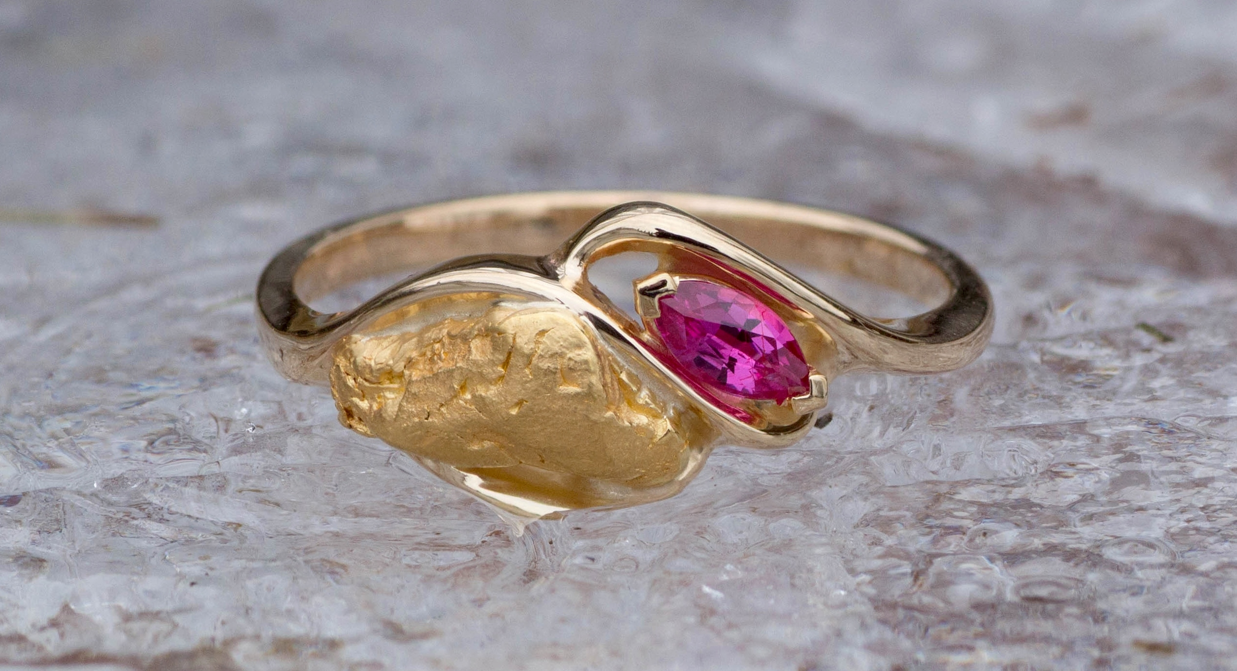 Alaskan Gold Nugget and Ruby Party Twist Ring
