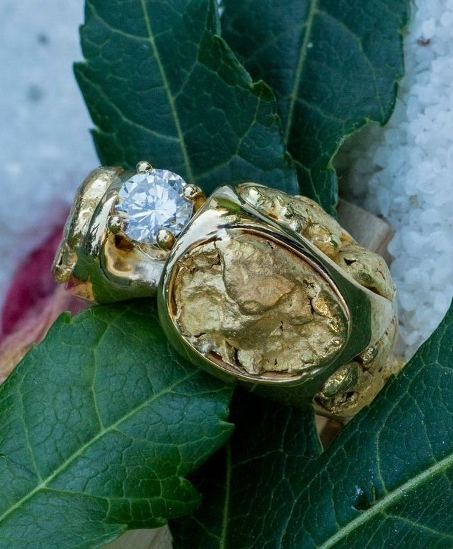 Alaskan Gold Nuggets and Diamond in Yellow Gold Ring