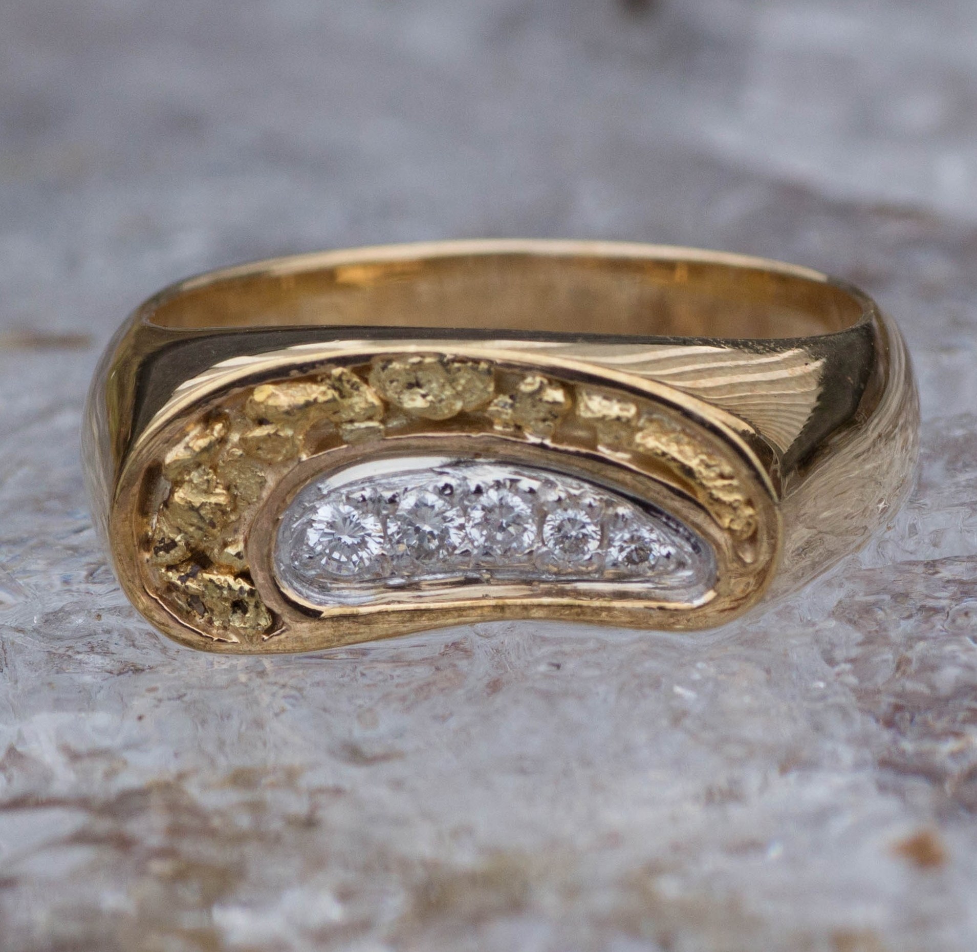 Alaskan Gold Nugget Diamond Wedding Band