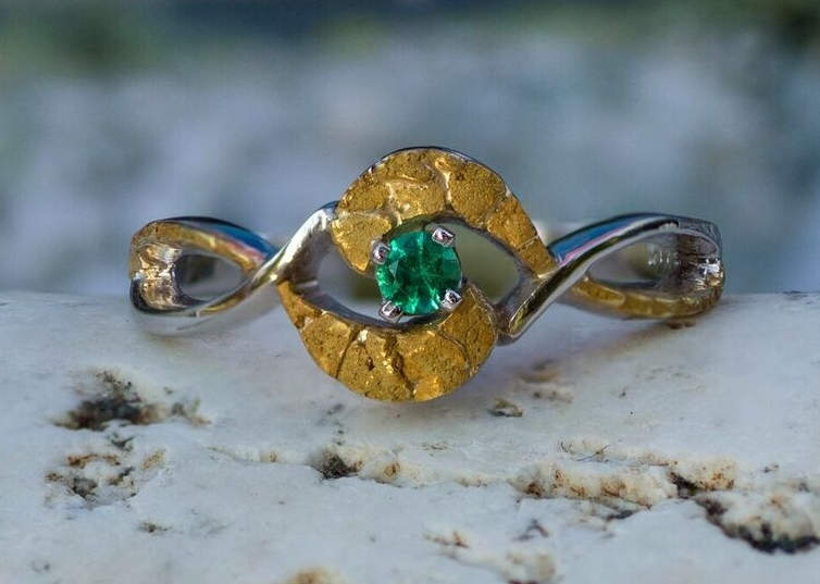 Alaskan Gold Nugget Ring and emerald in 14kt White Gold.
