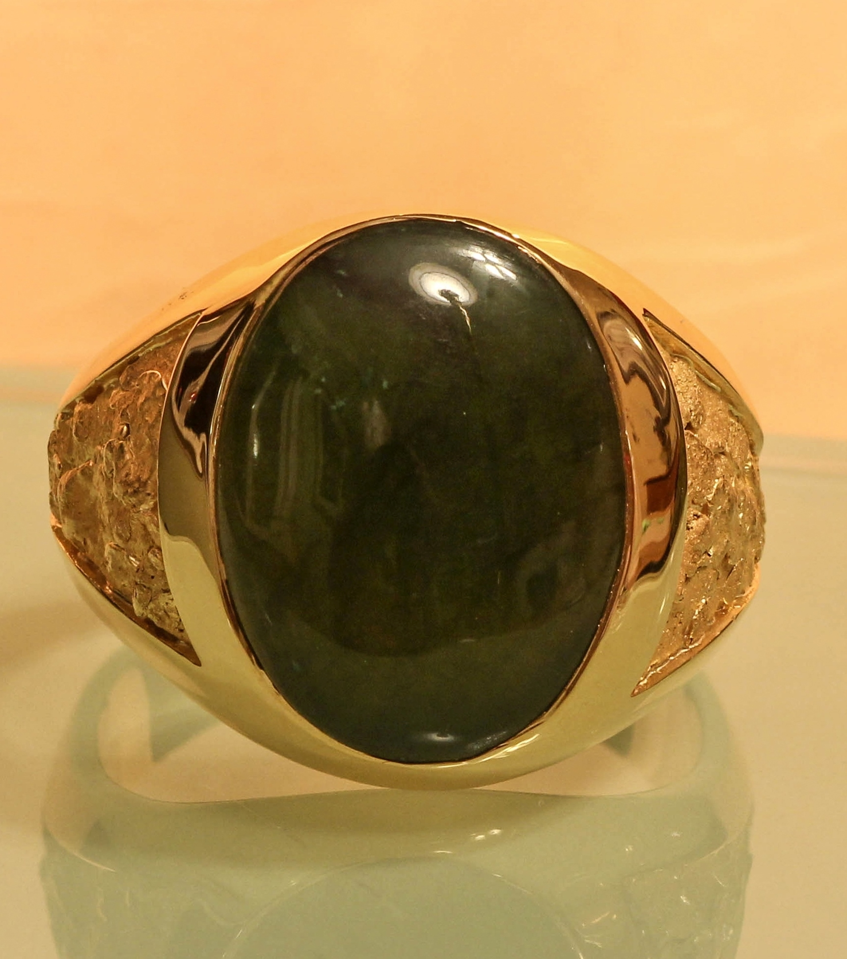Jade and Alaskan Gold Nugget Ring