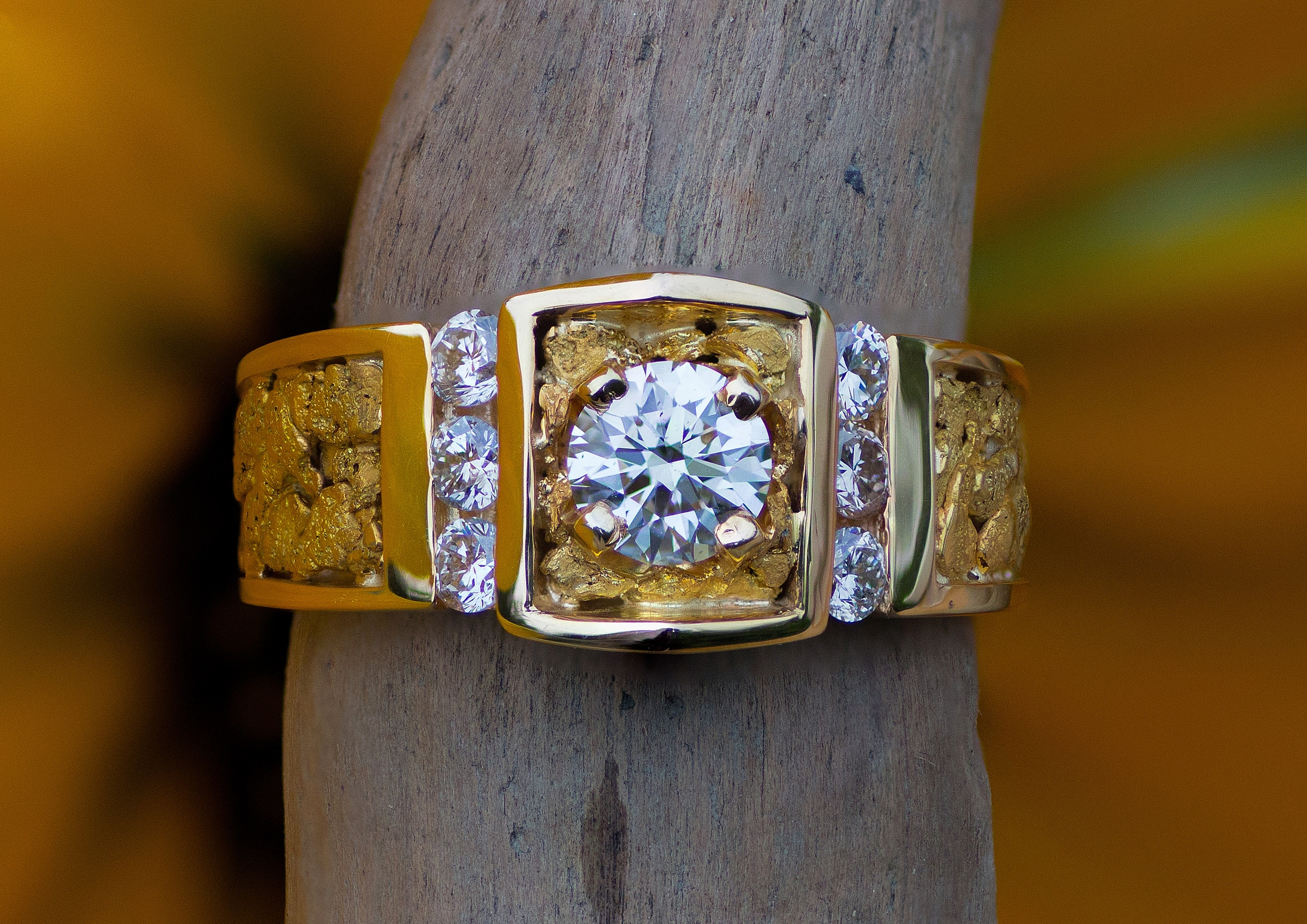 Diamonds and natural Alaskan gold nuggets arranged in 14kt yellow gold.