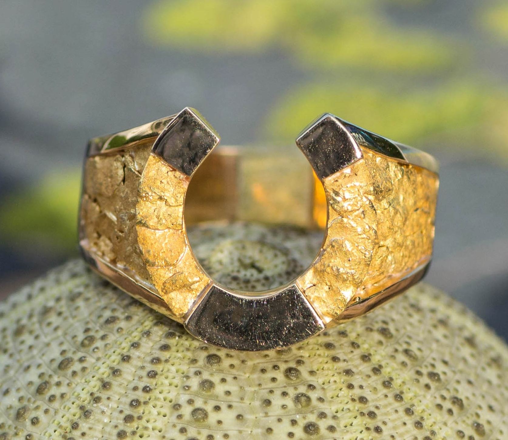 Natural Alaskan Gold Nugget horseshoe ring.