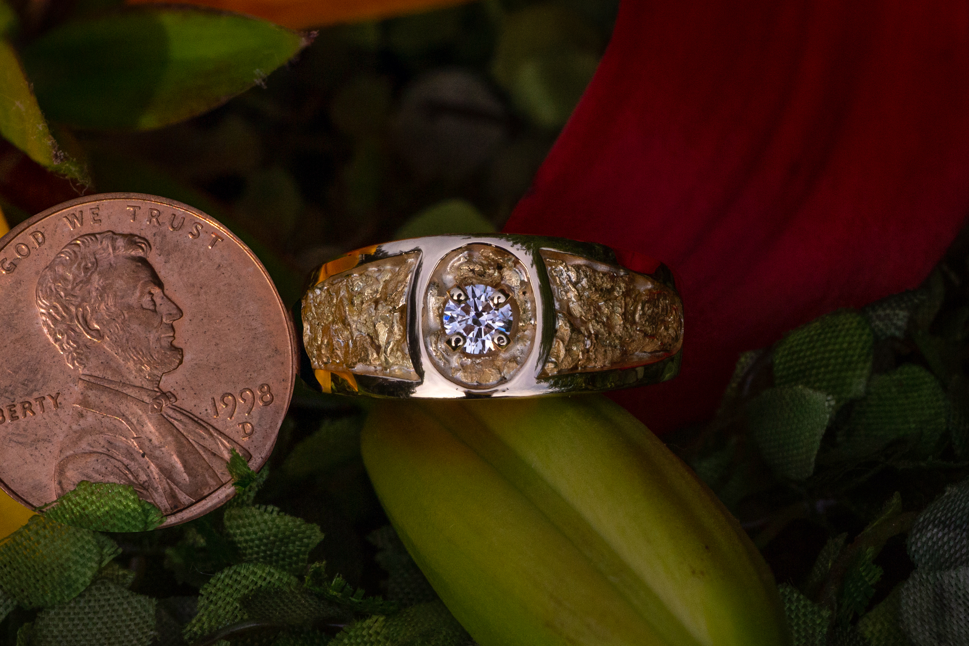 Alaskan Gold Nugget and Diamond Band
