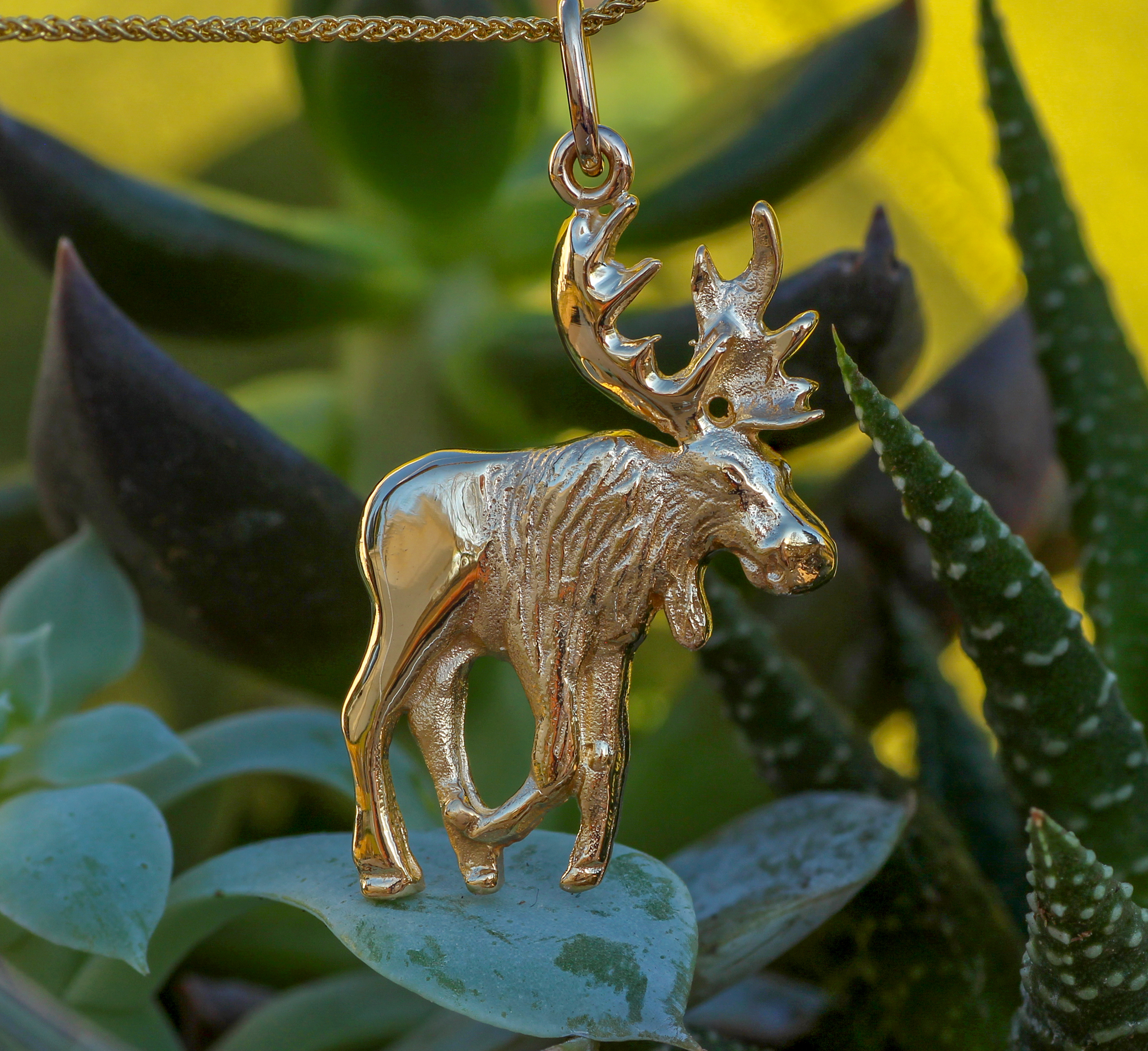 Bull Moose Pendant in 14Kt Yellow Gold pendant.