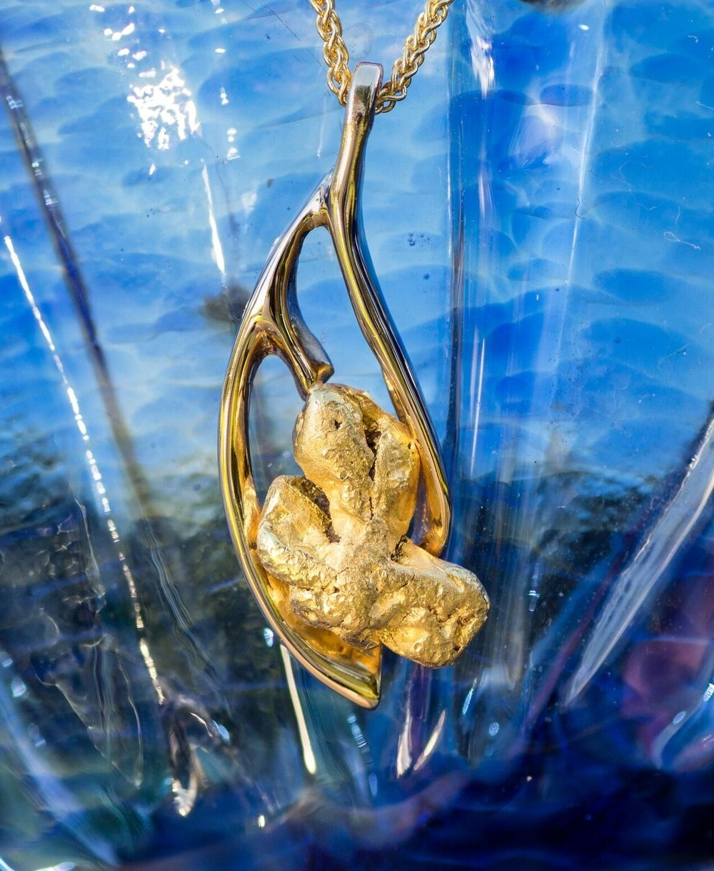 Natural Alaskan Gold Nugget Pendant