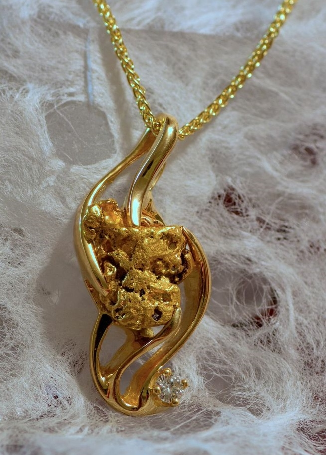 Custom Alaskan Gold Nugget and Diamond Pendant