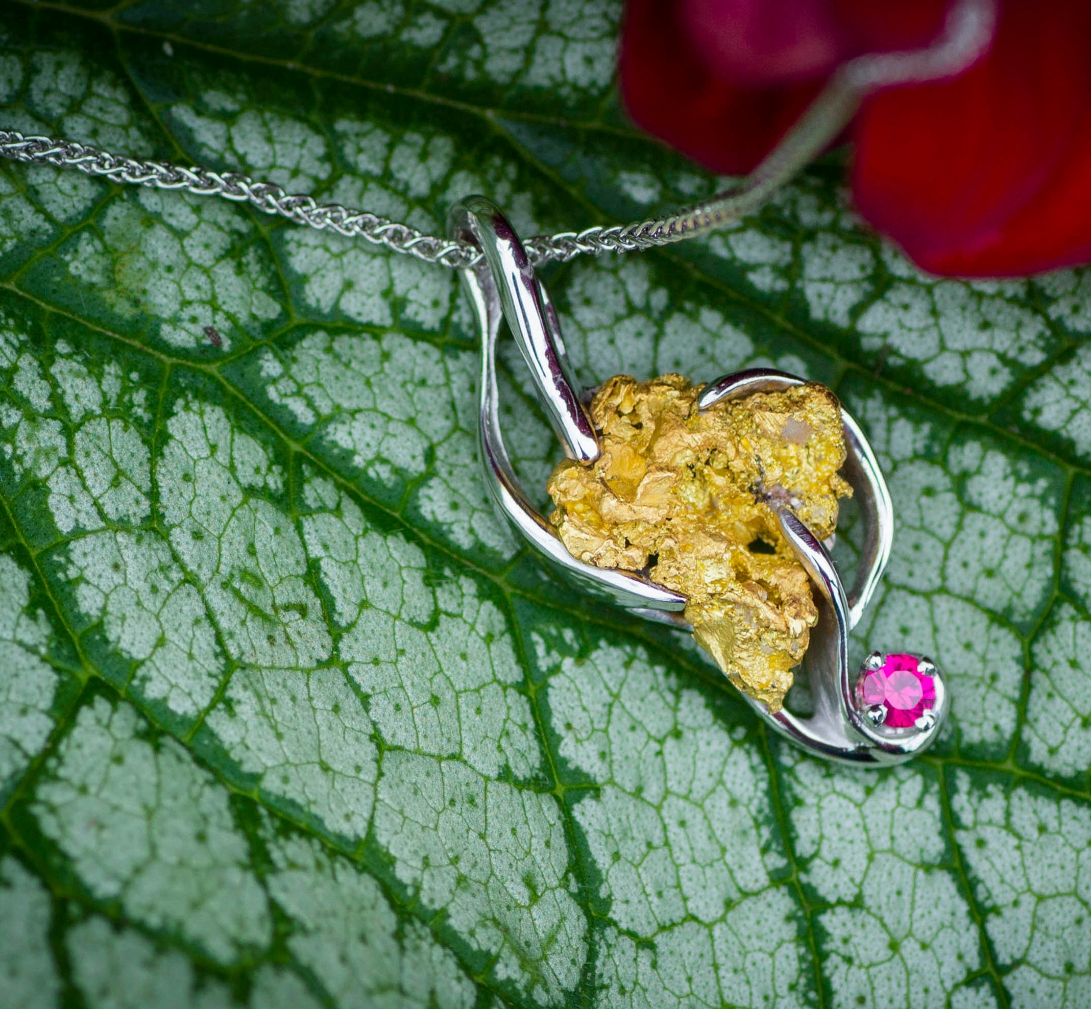 Elegant Alaskan Gold Nugget and Ruby Pendant