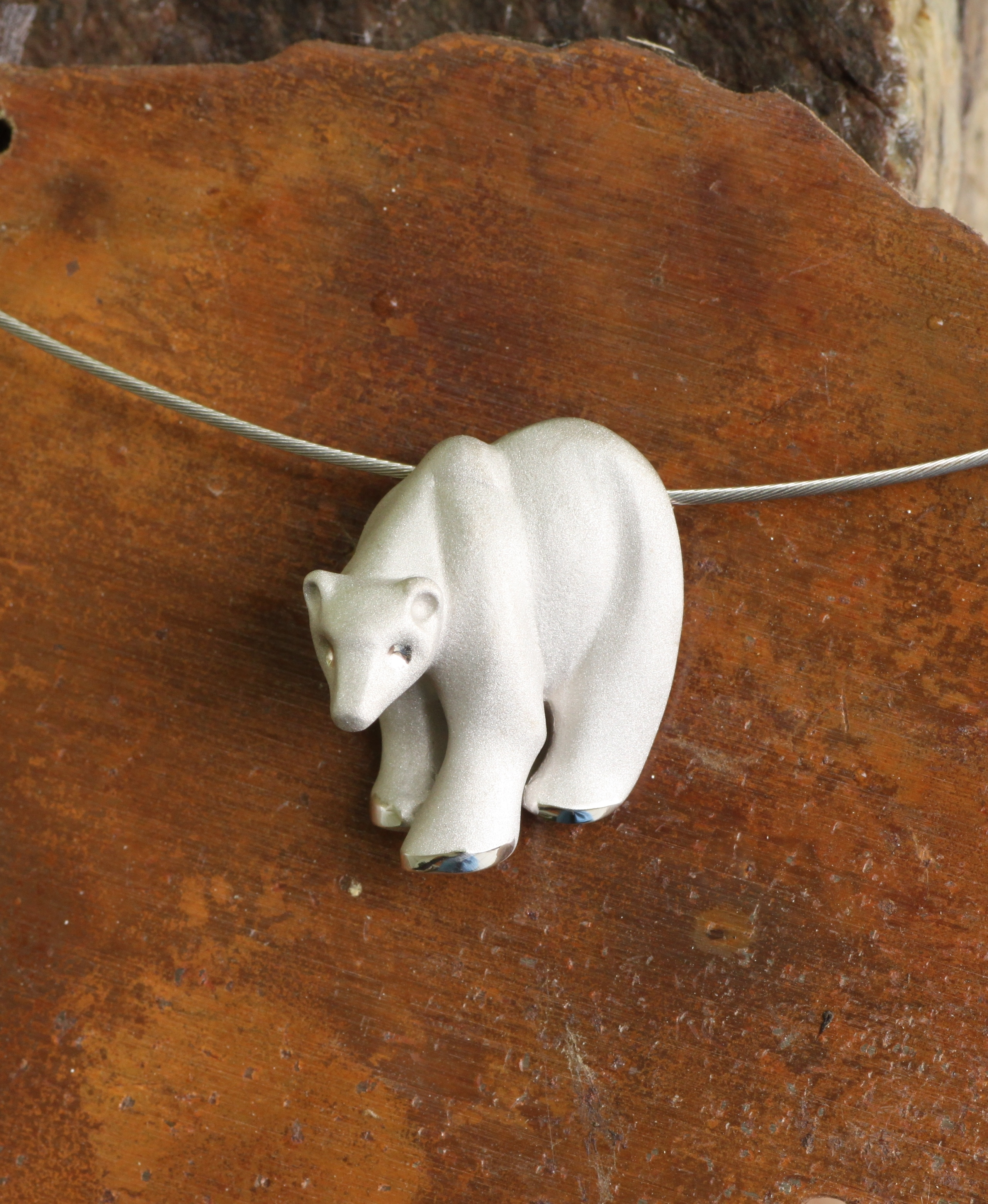 Wild Alaska Bear in 14kt White Gold Pendant with Satin Finish.