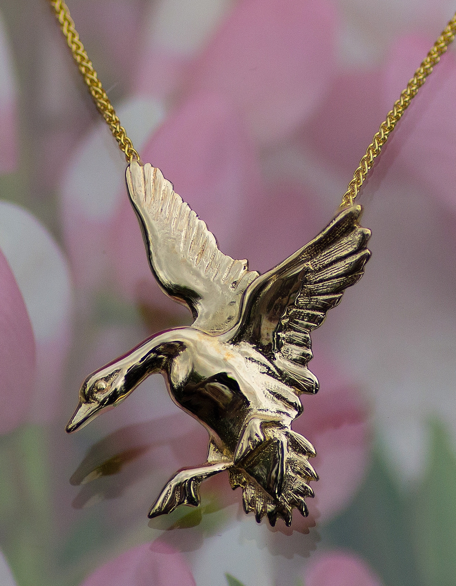 Wild Goose Pendant Hand Crafted in 14kt Yellow Gold.