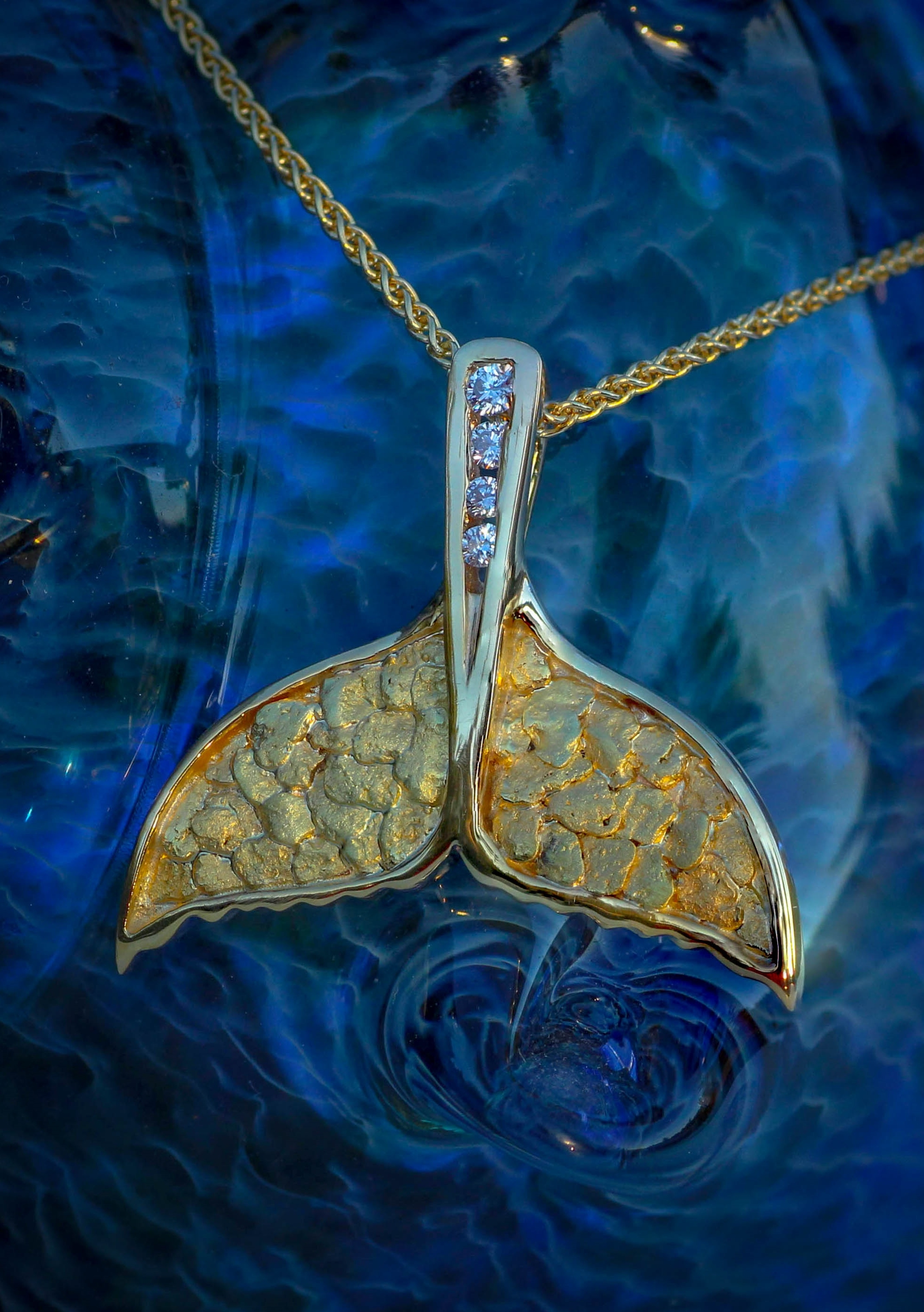 Wild alaska whale tail pendant alaskan gold nuggets aloadofball Images