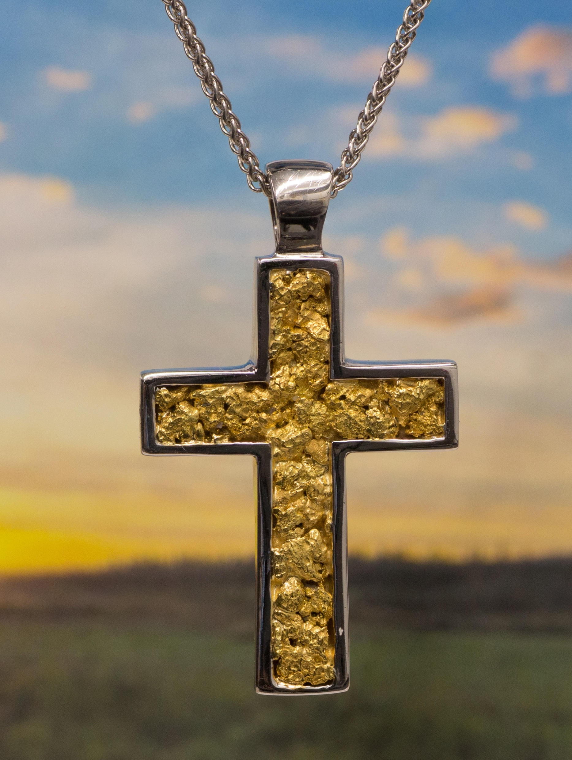 Natural Alaskan Gold Nugget Cross in 14kt White Gold Pendant