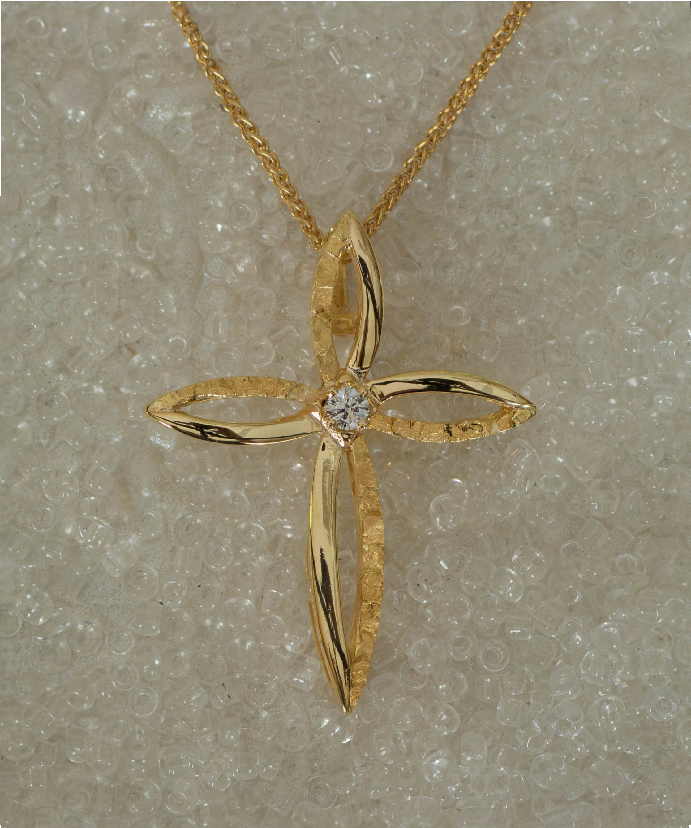 Alaskan Gold Nugget and Diamond Cross Pendant in 14kt Yellow Gold