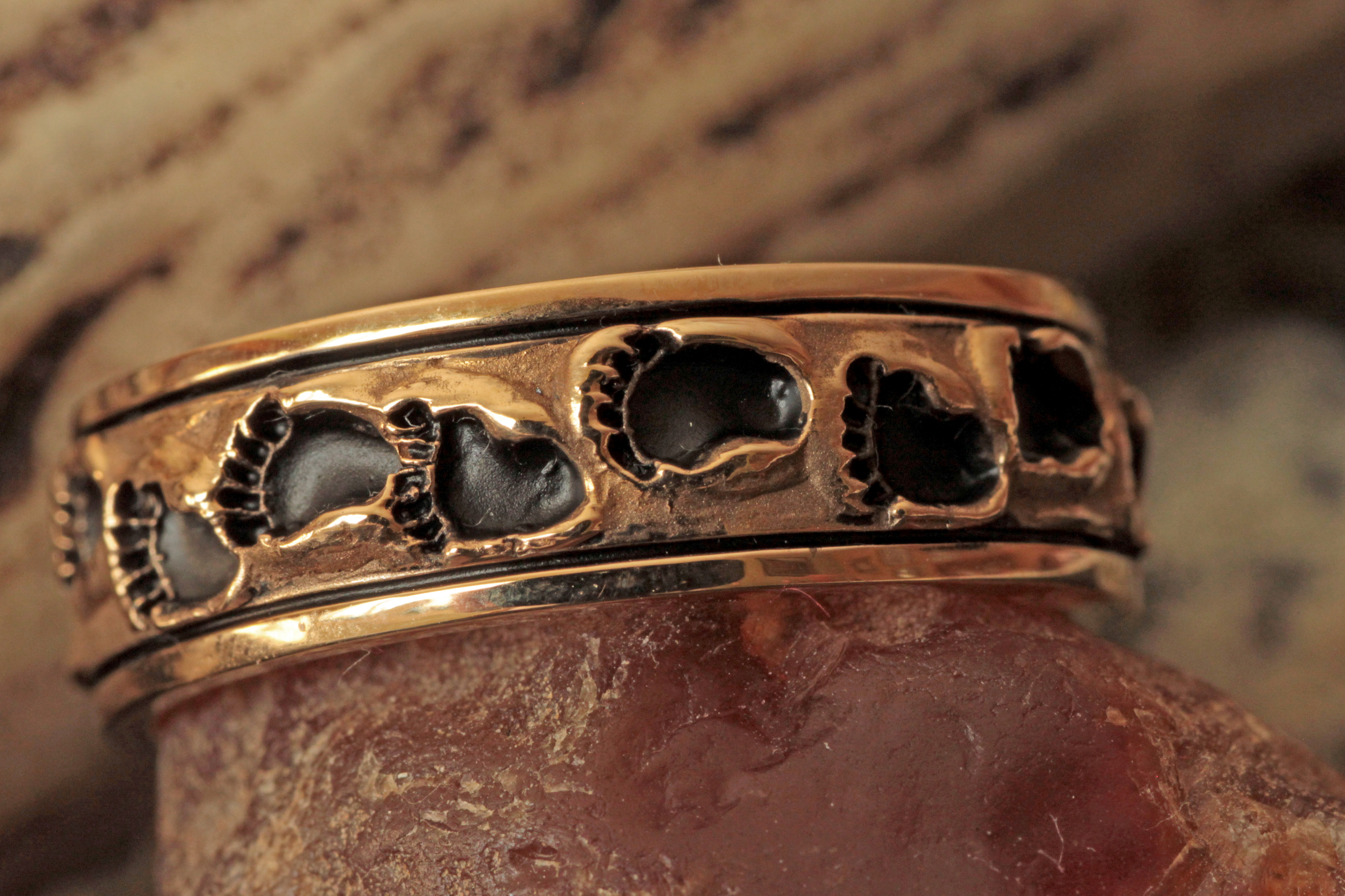 Wild Alaska Human Footprint Ring in 14Kt Yellow Gold.