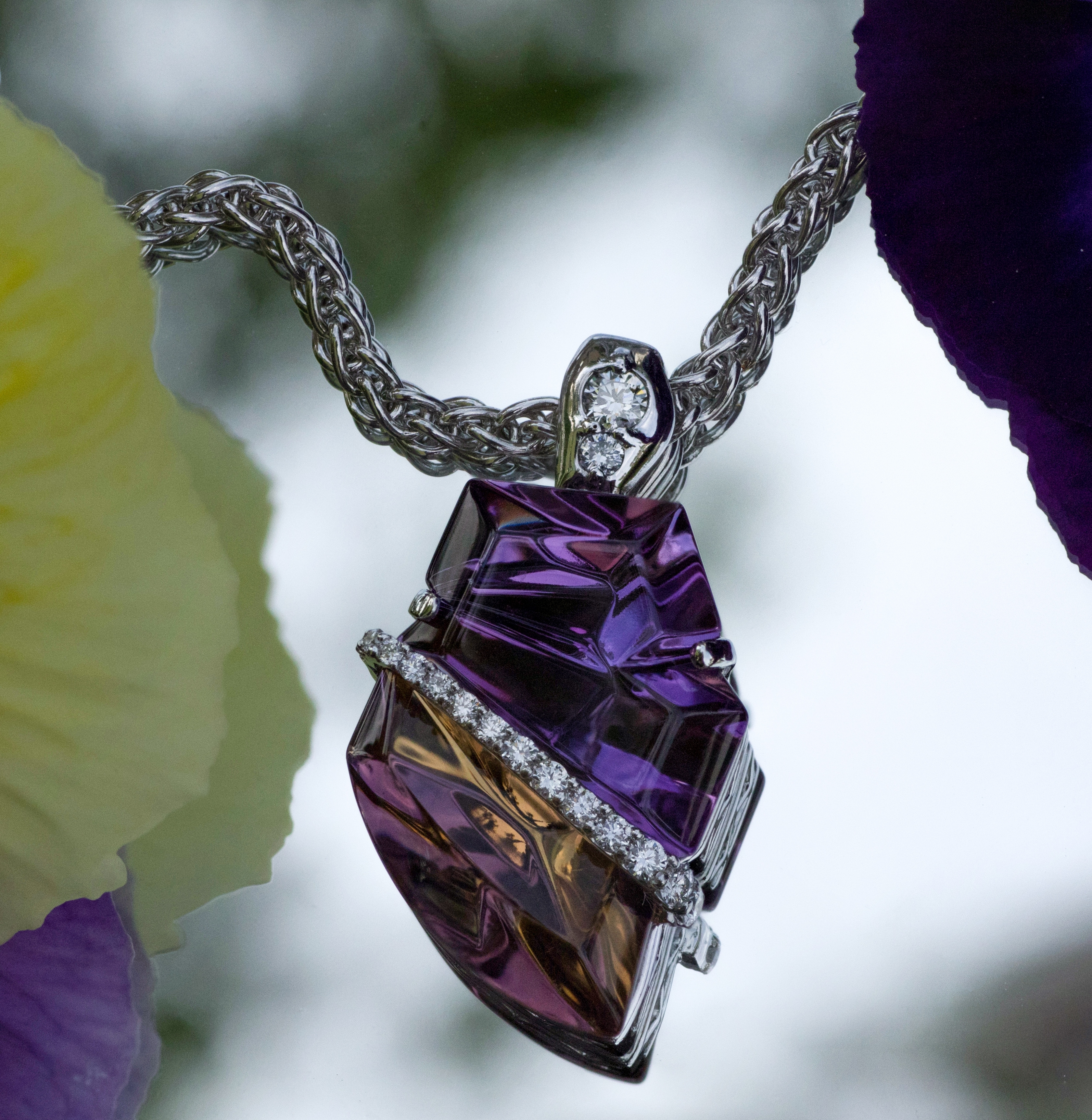 Stunning Ametrine and Diamond pendant in 14Kt white gold