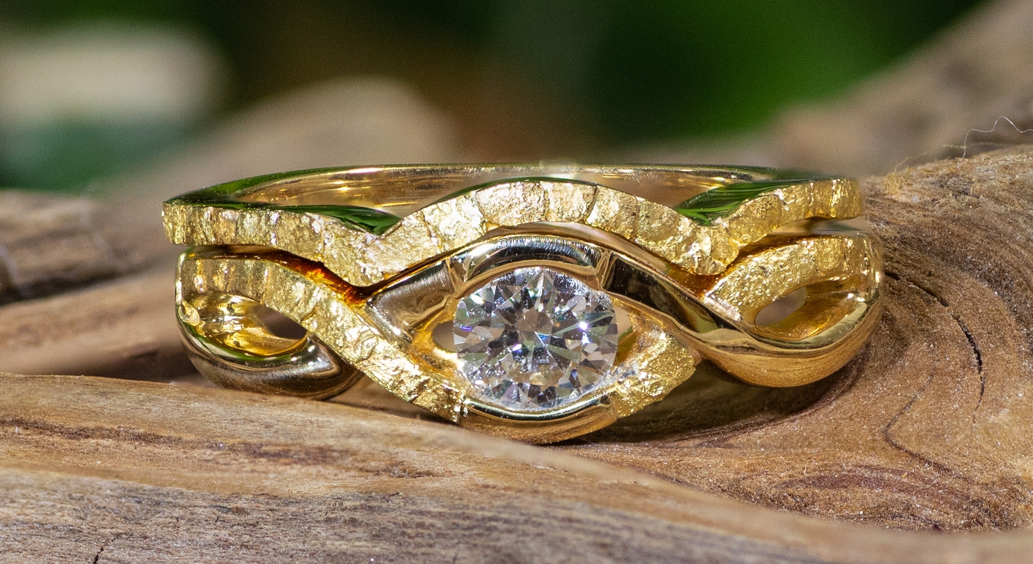 Alaskan Gold Nuggets and Diamonds in 14kt Yellow Gold wedding ring.