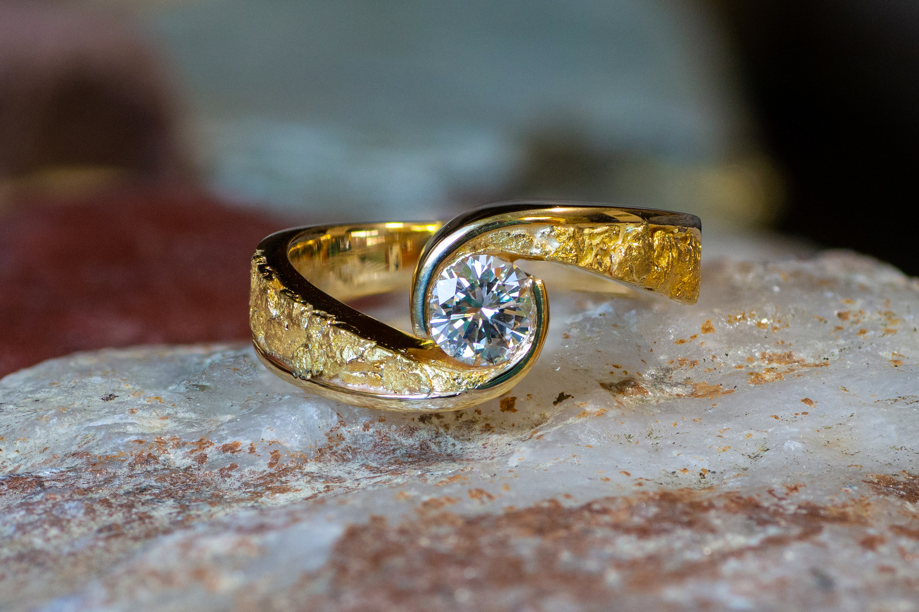 Alaskan Gold Nuggets and Diamond in 14kt Yellow Gold wedding ring.