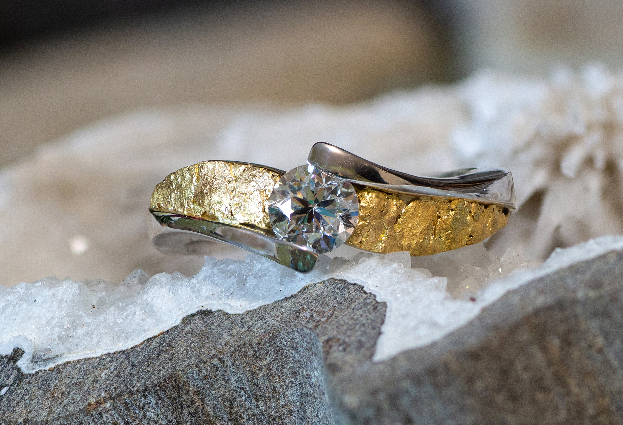 Alaskan Gold Nuggets and Diamond in 14kt White gold wedding ring.