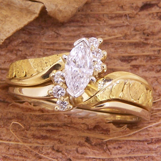 Alaska Gold Nuggets and Marquise Diamond Wedding Set in Yellow Gold