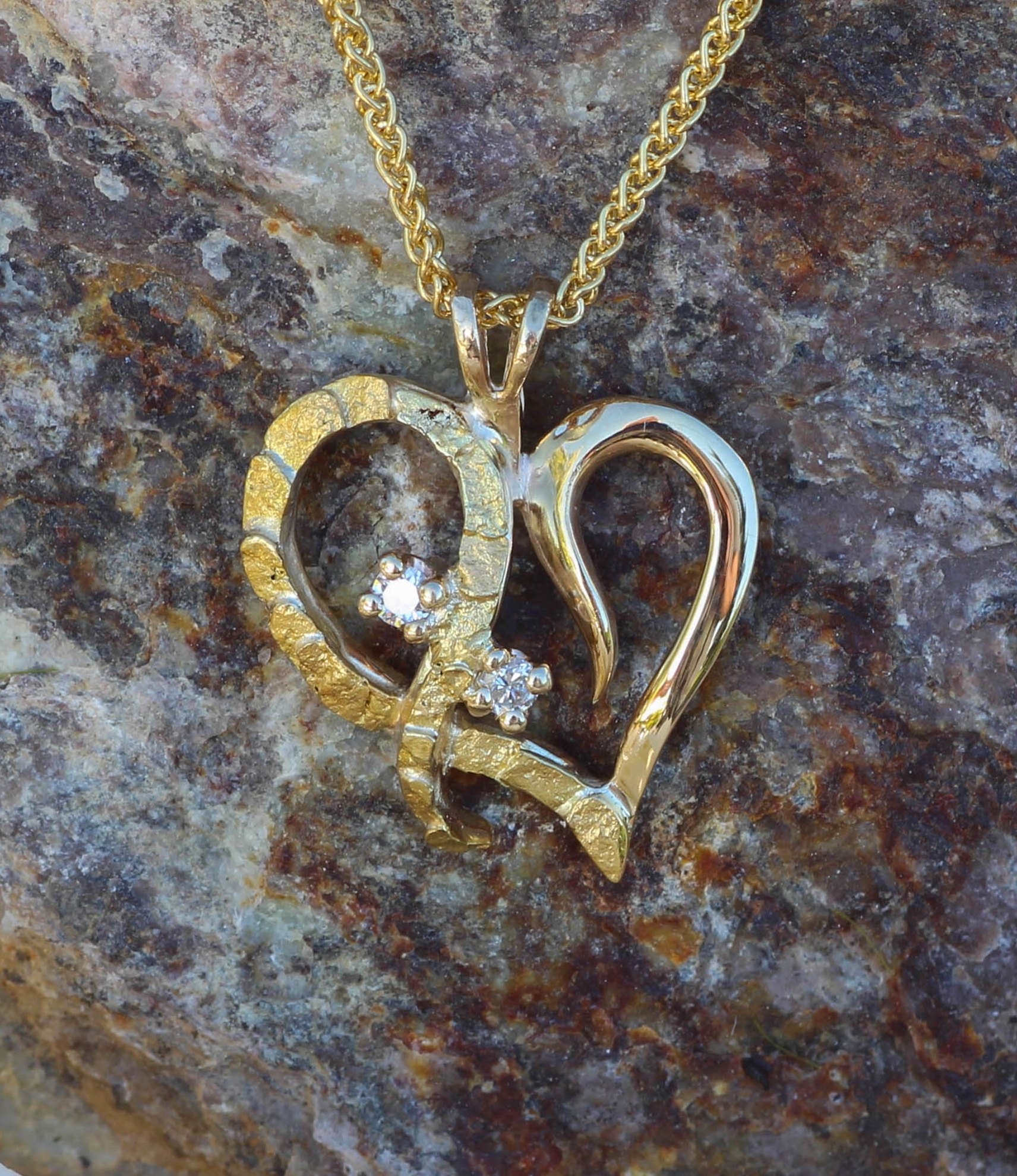 Beautiful Alaskan Gold Nuggets, Diamonds in 14kt Gold Heart Pendant