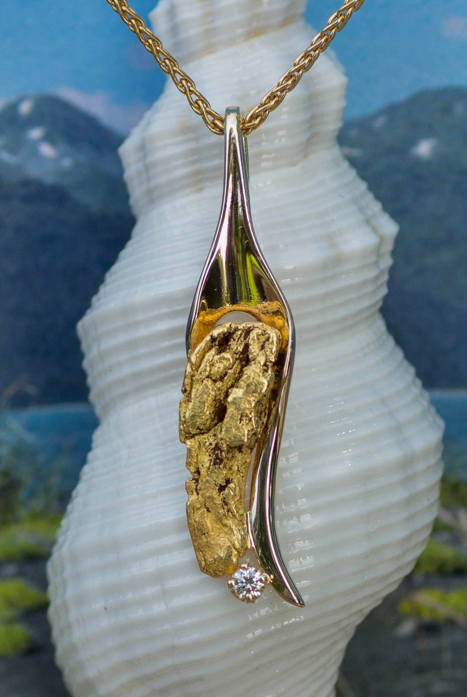 Natural Alaskan Gold Nugget and Diamond Pendant