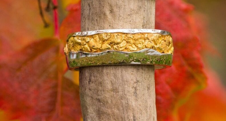 Natural Alaskan Gold Nugget White Gold wedding band.