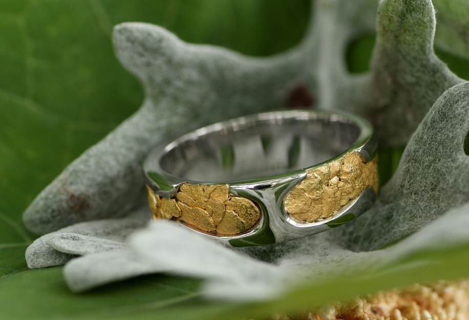 Custom Alaskan Gold Nugget White Gold wedding band.