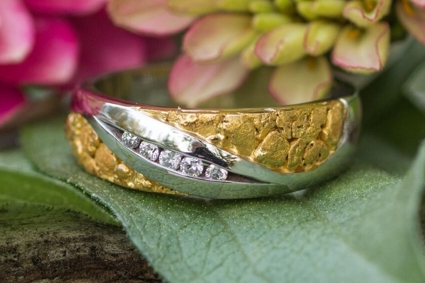 Alaskan Gold Nugget Diamond Wedding Band white gold