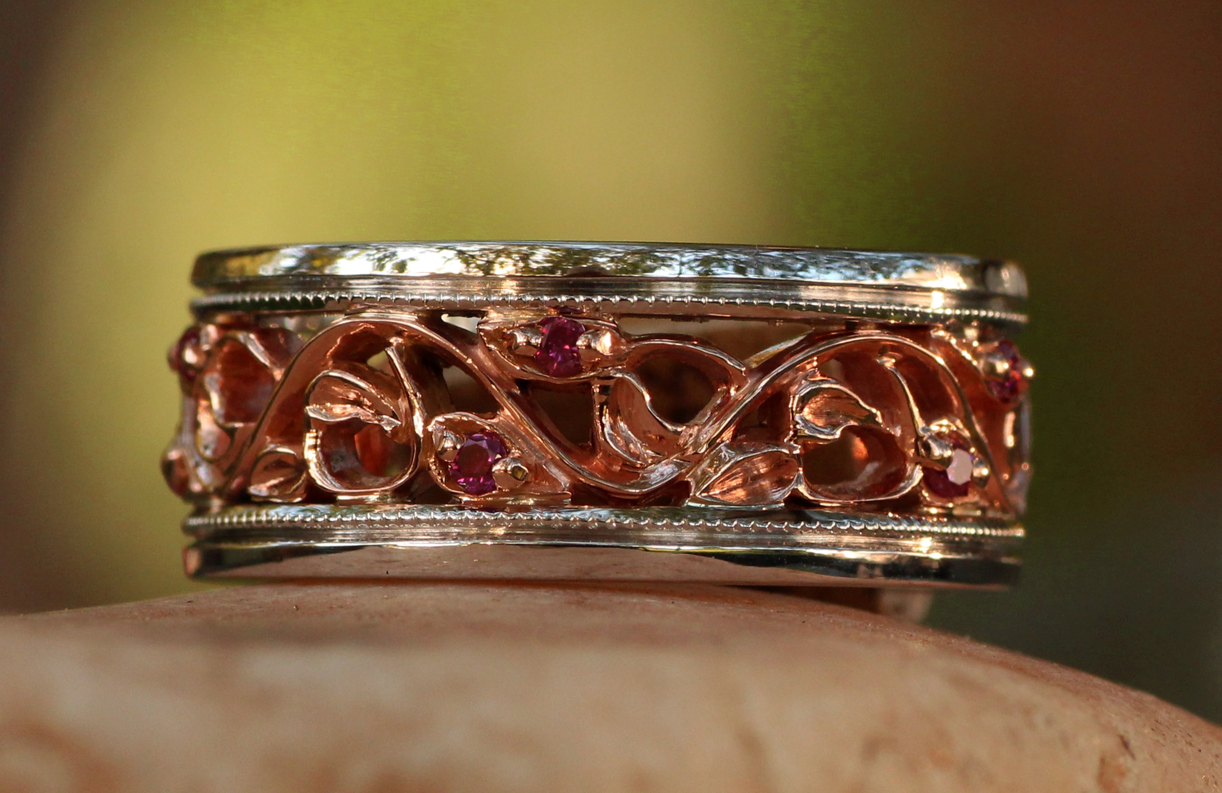 Custom Alaskan Gold Nugget and Diamonds in 14kt White Gold and 14Kt Rose Gold.