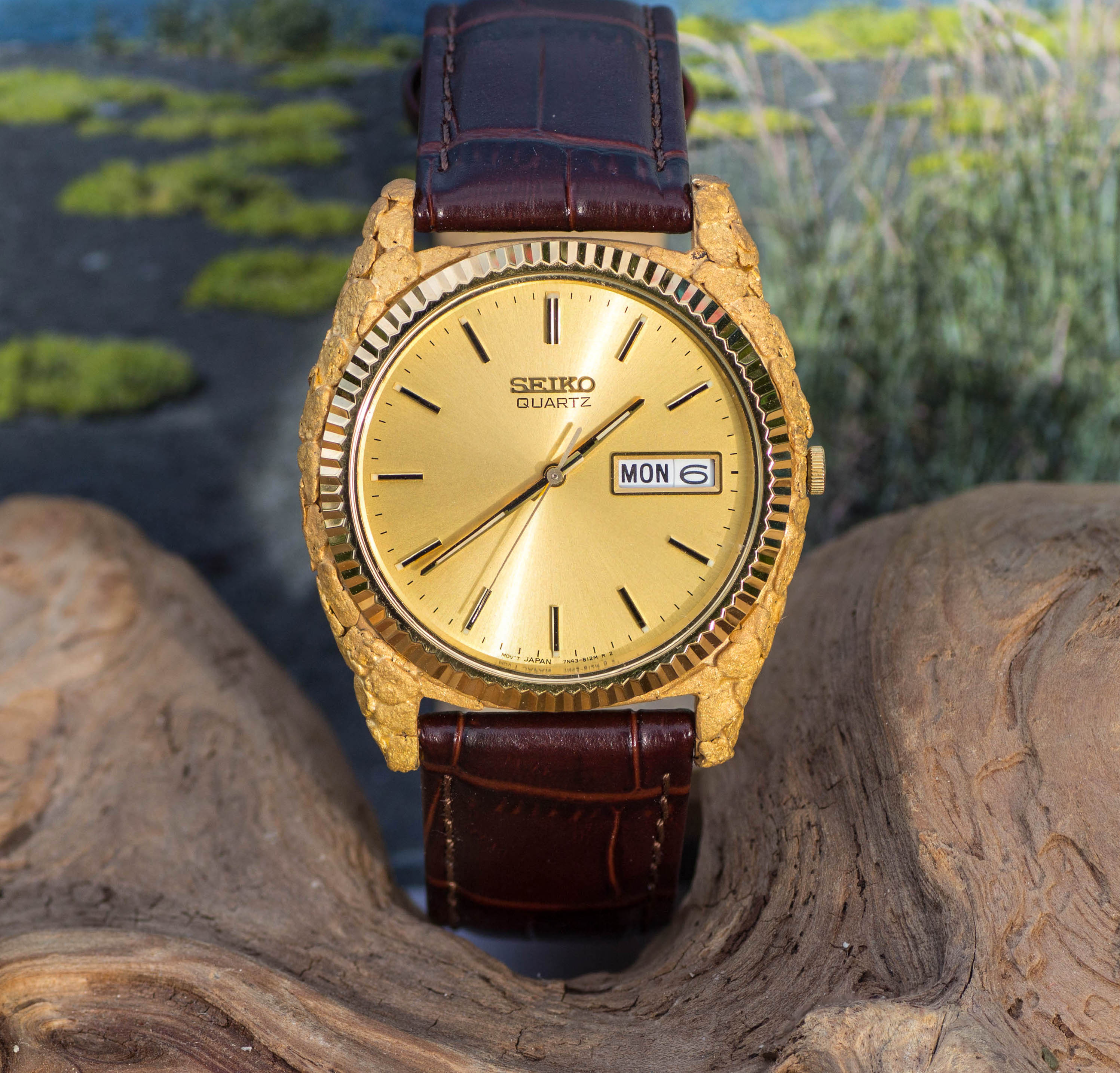Custom Alaskan Gold Nugget Seiko Watch
