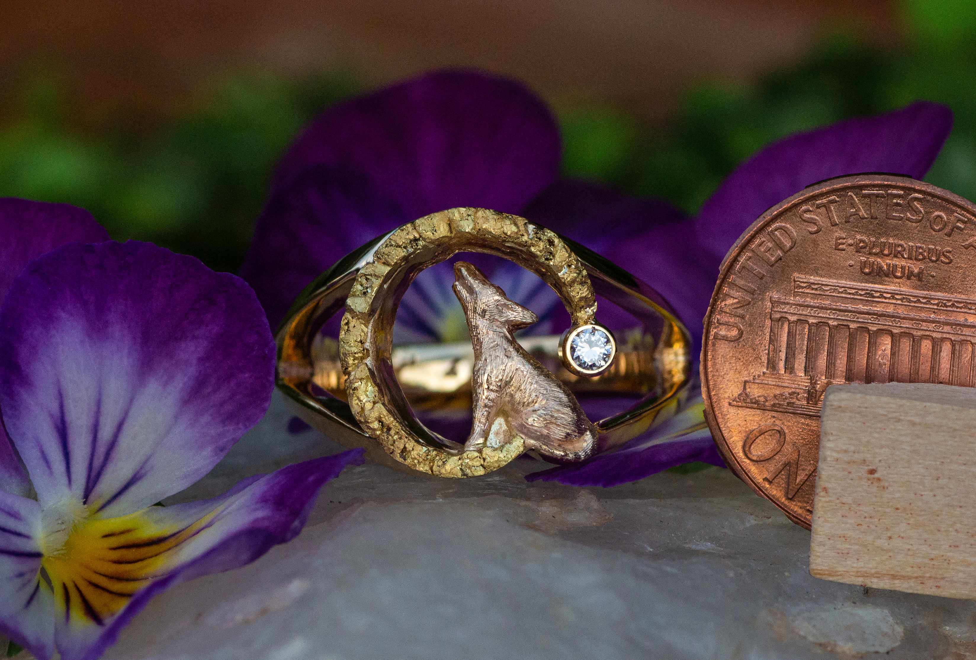 Wild Alaska Howling Wolf Ring in 14kt Yellow Gold