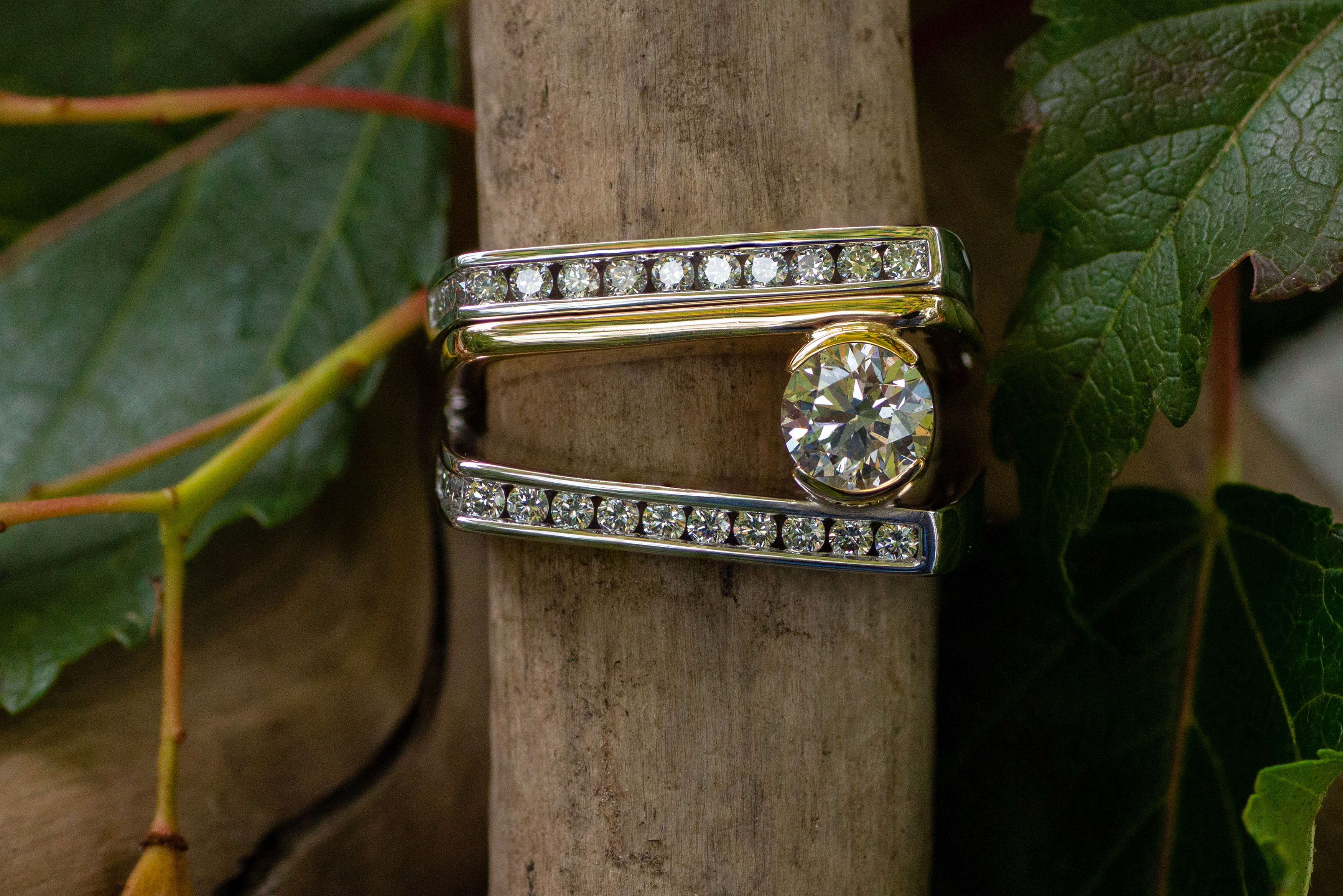 Diamonds in 14kt White and Yellow Gold wedding set.