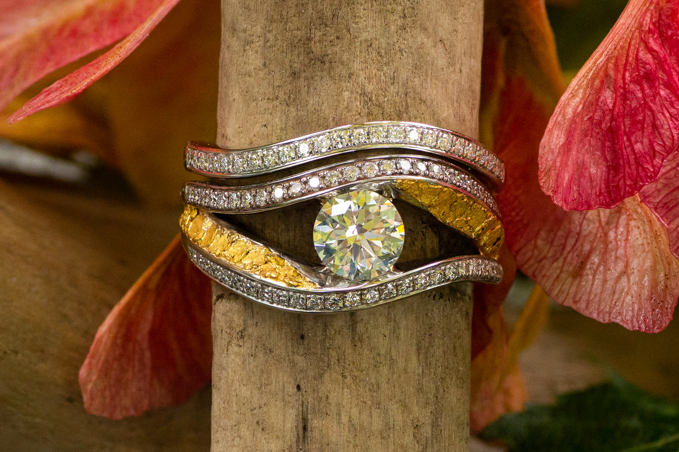 Alaska Gold Nuggets and Diamond Wedding Set in White Gold