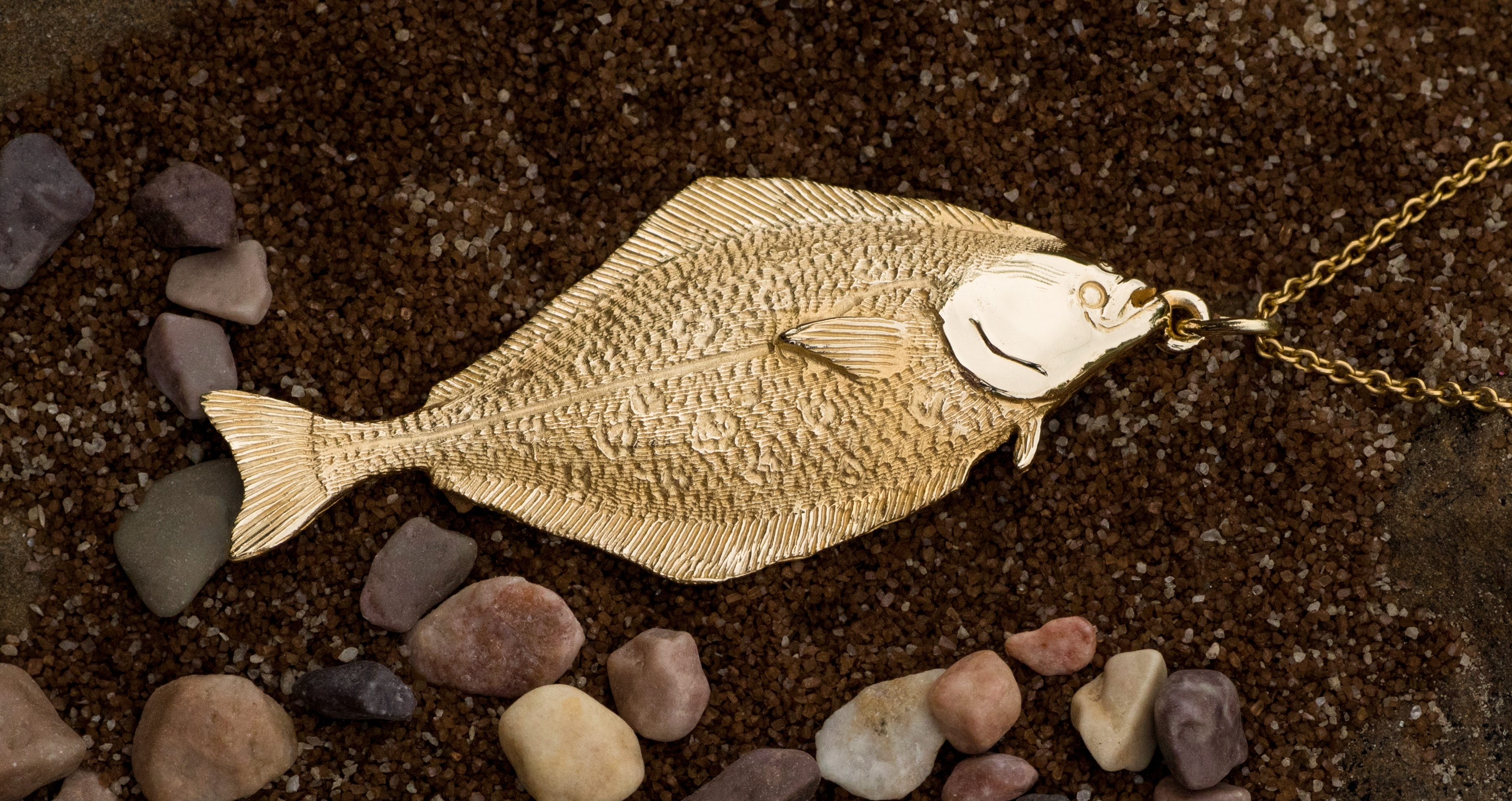 Alaskan Halibut Charm Hand Crafted in 14kt Yellow Gold.