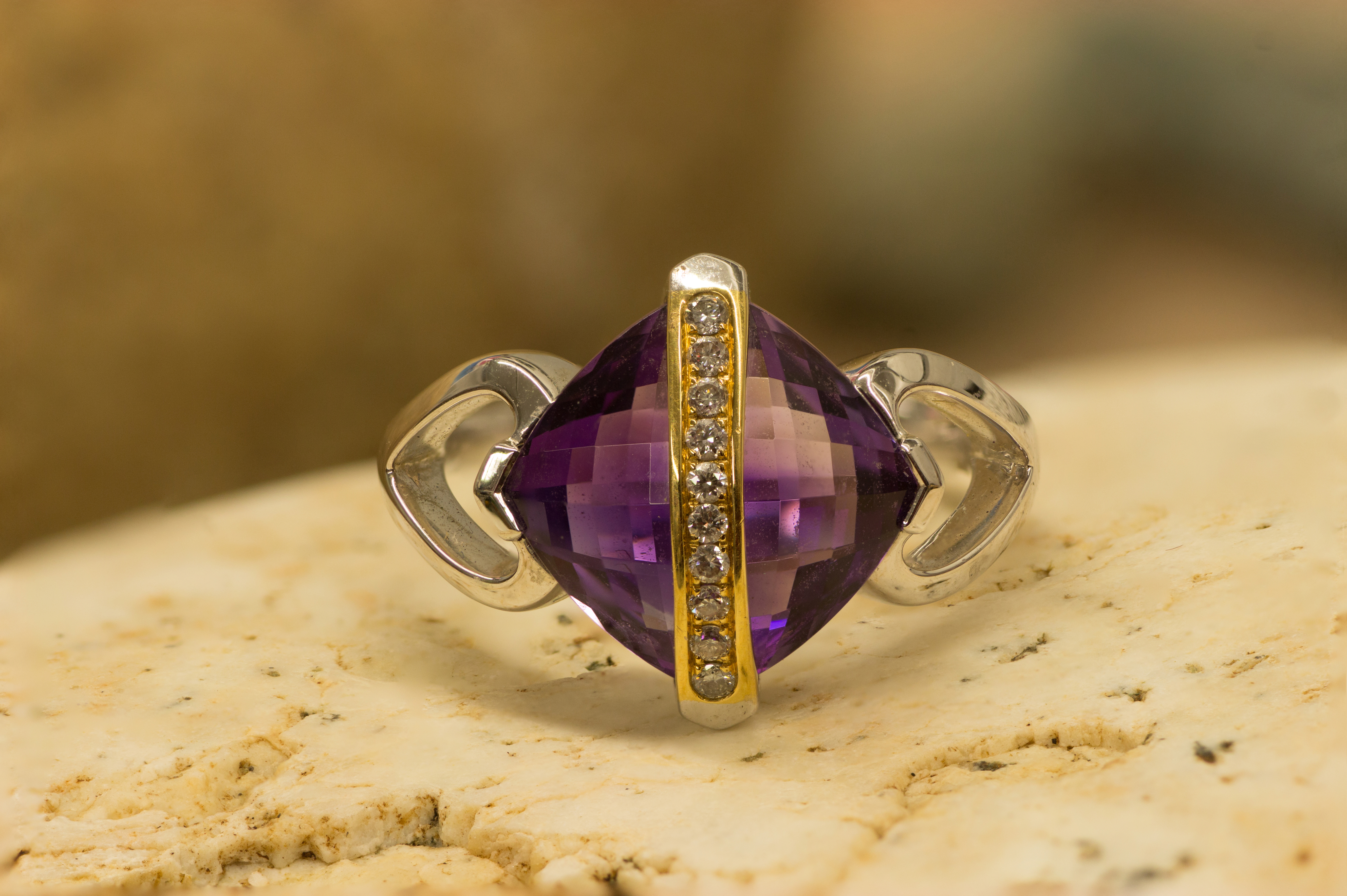 Unique Amethyst Ring in white and yellow gold.