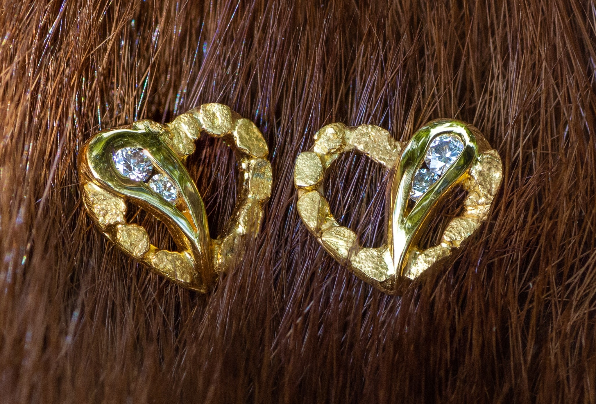 Gold Nugget and Diamond Hearts of Love Earrings