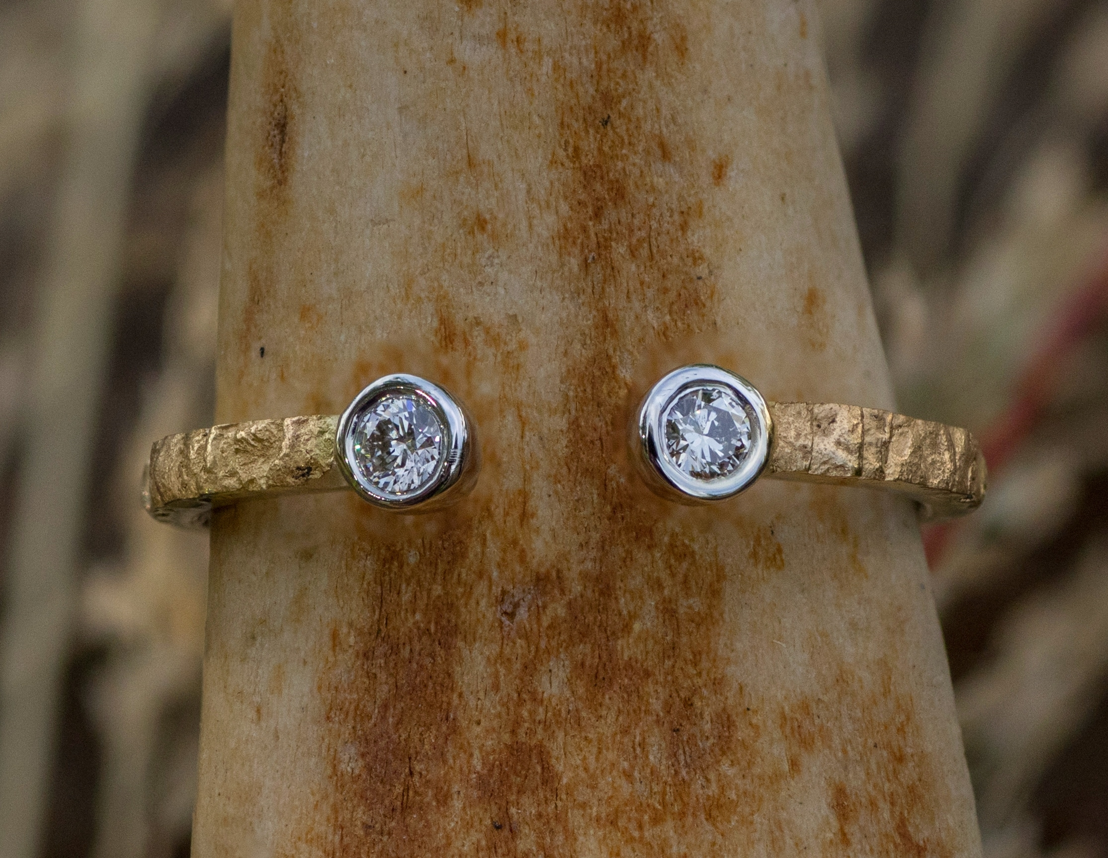 Alaskan Gold Nugget and diamond ring in 14kt White Gold.
