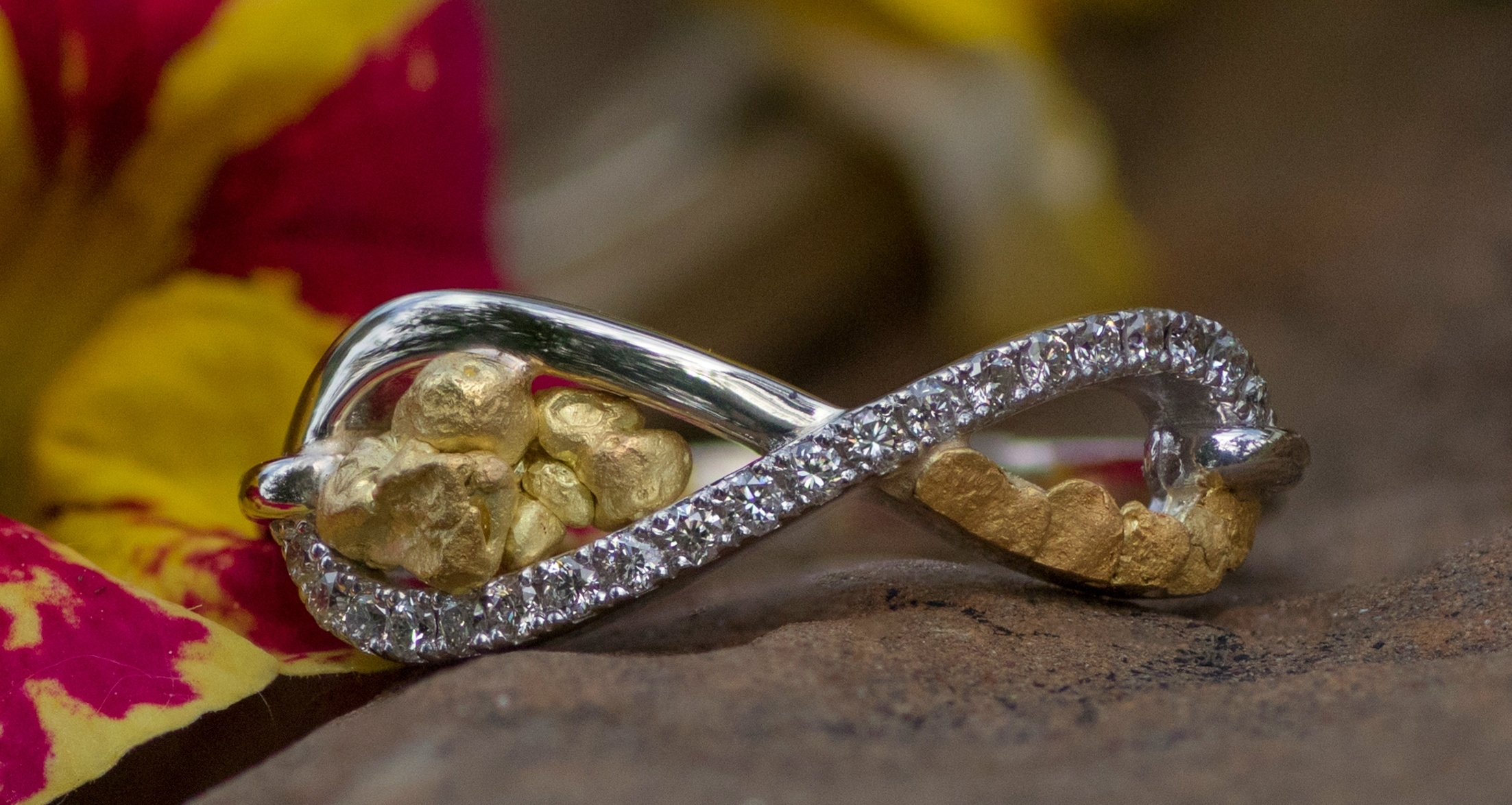 Alaskan Gold Nugget Ring and diamonds in 14kt White Gold.