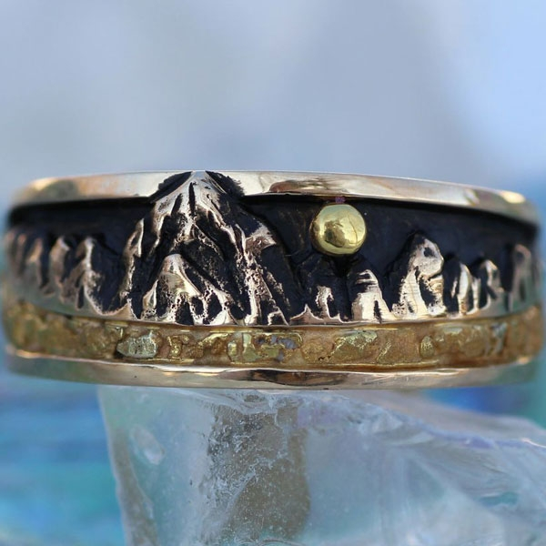 Wild Alaska Denali Mountain Ring with Gold Nuggets in Sterling Silver