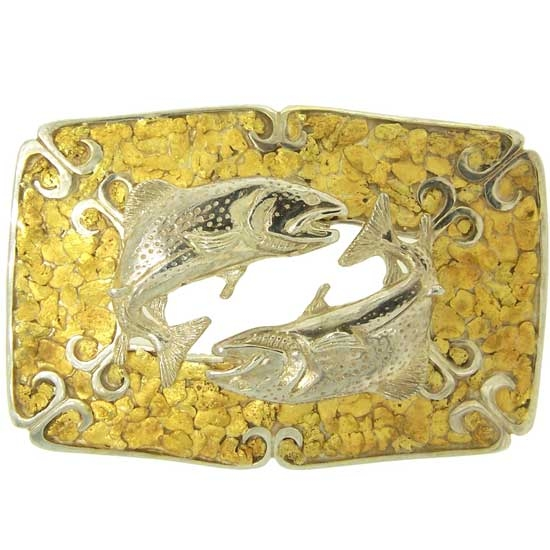 Custom Sterling Silver Fish Wild Alaskan Gold Nugget Belt Buckle